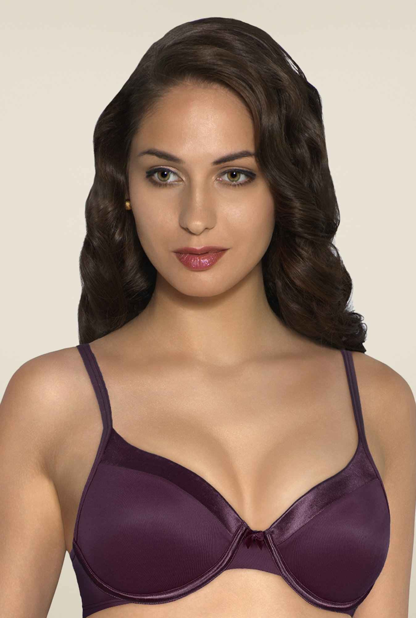 Amante Violet Satin Edge Padded Underwired Bra