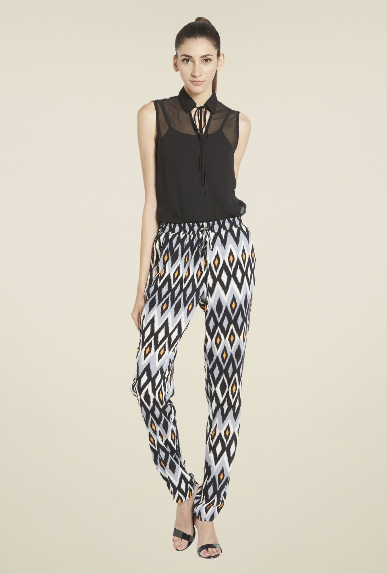 Globus Black & Grey Printed Trouser