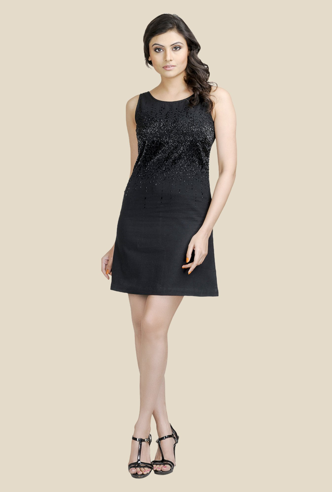 Fabindia Black Embellished Dress