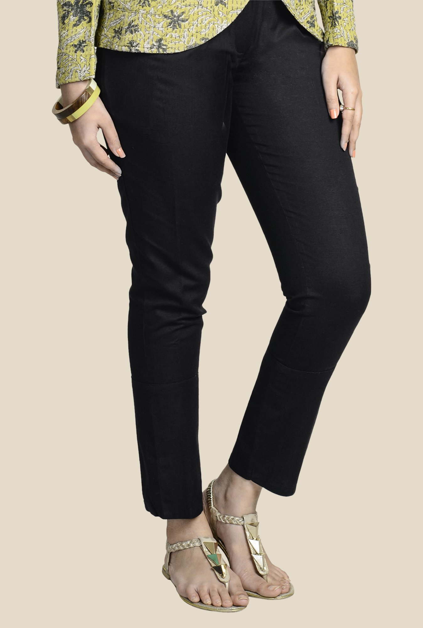 Fabindia Black Solid Chinos