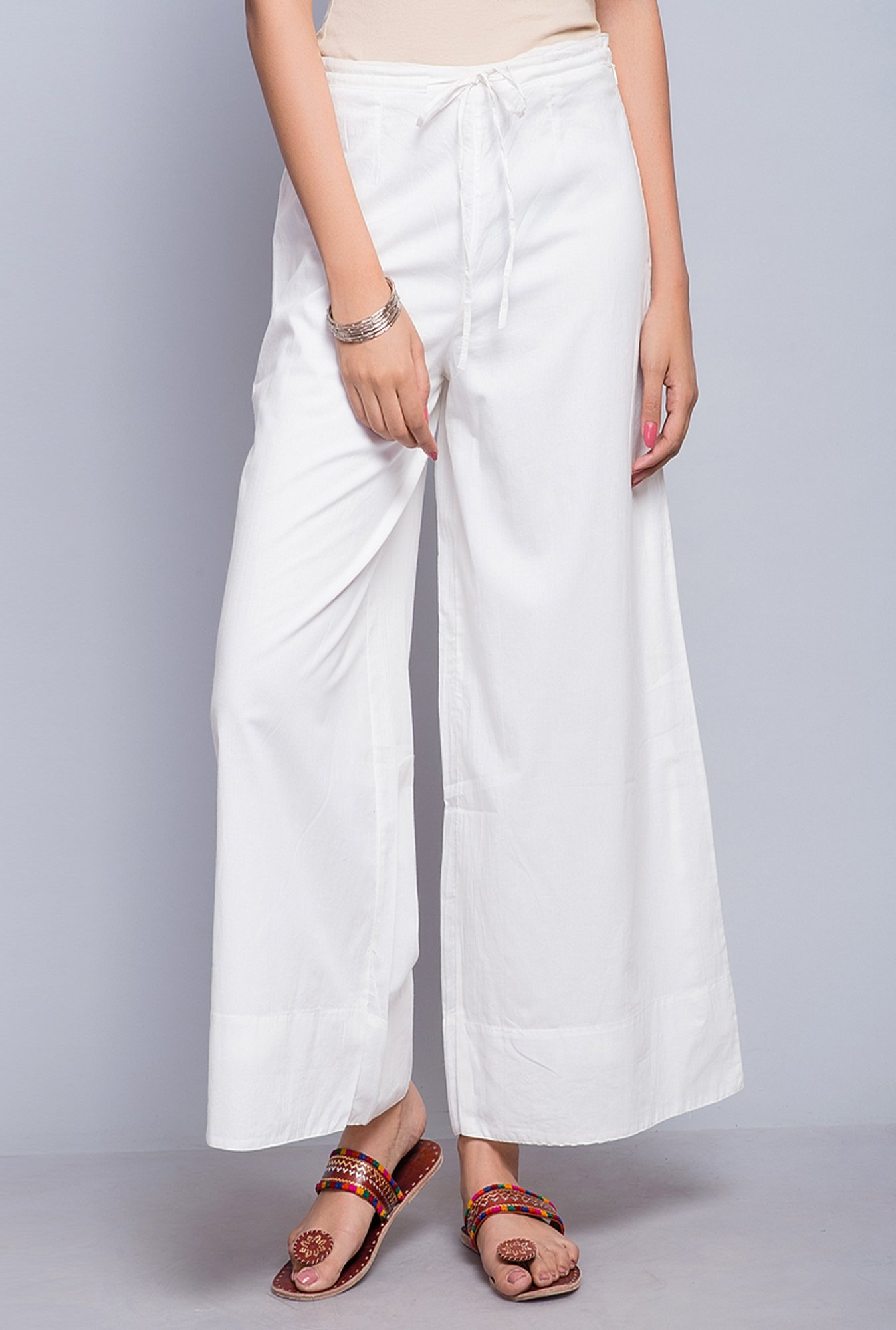 Fabindia White Solid High Rise Palazzo