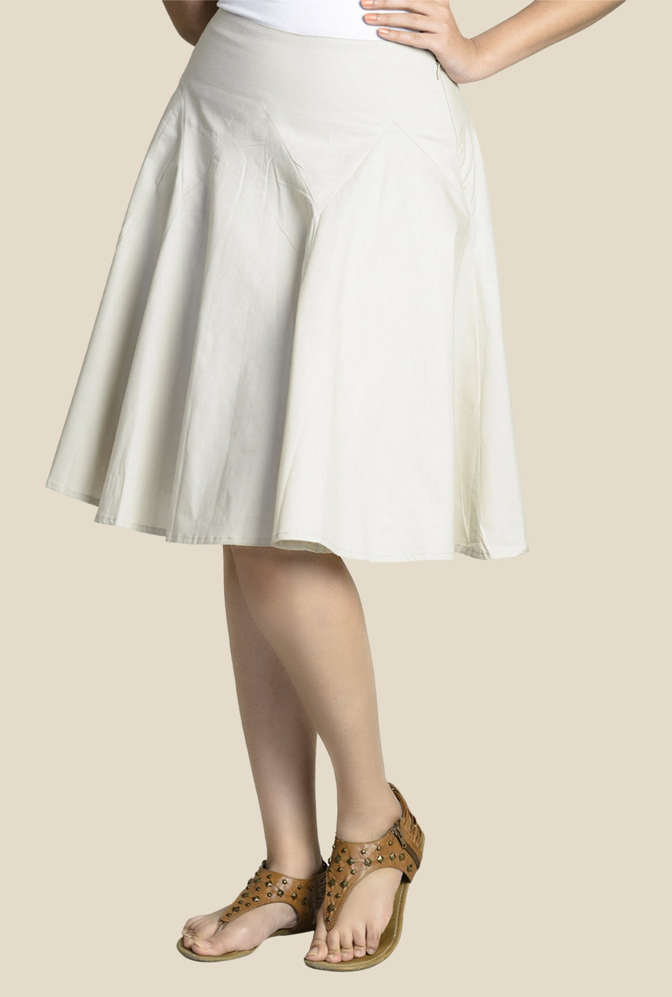 Fabindia Off White Solid Skirt