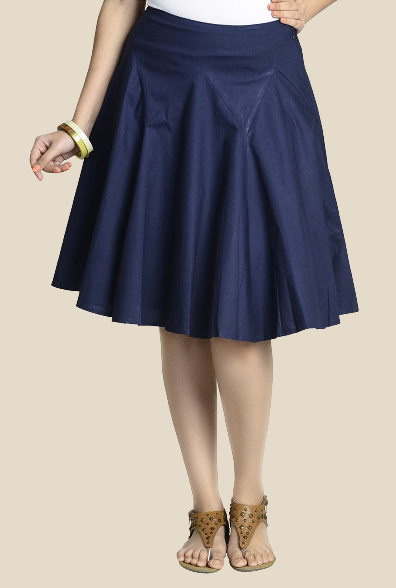 Fabindia Navy Solid Skirt