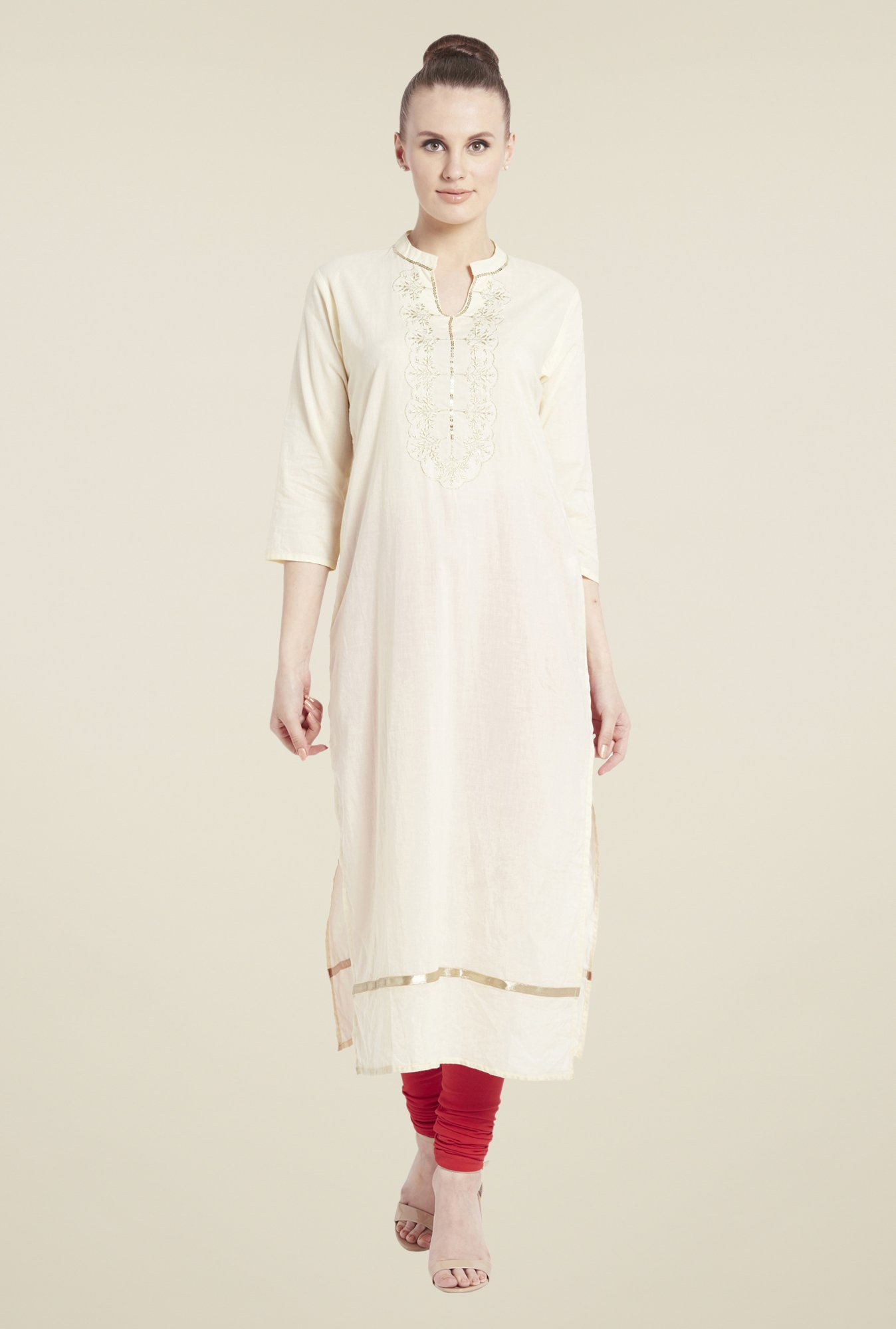 Globus Beige Embroidered Cotton Kurta