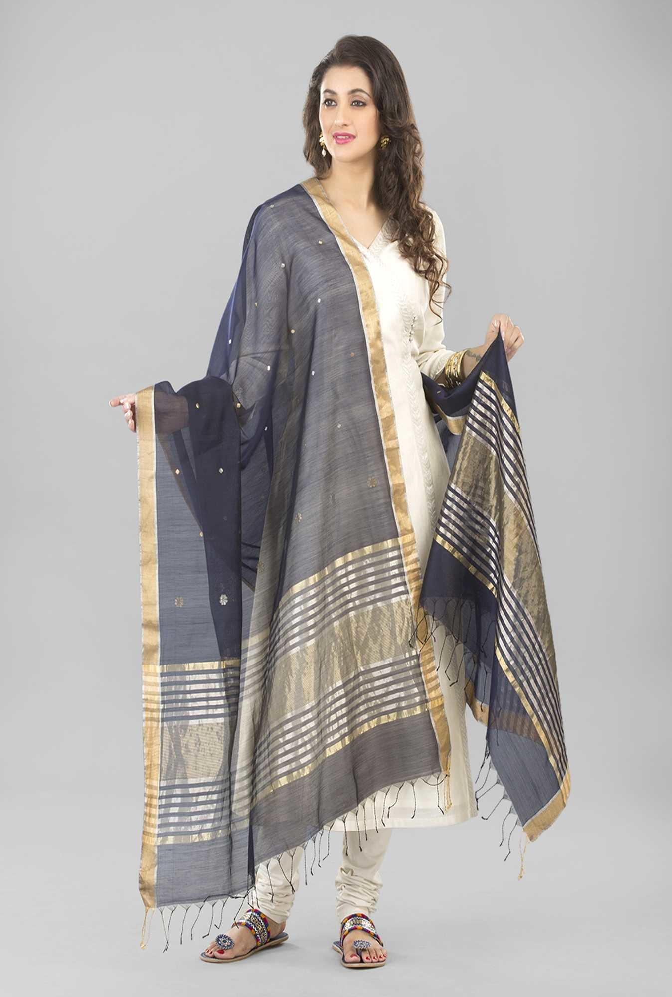 Fabindia Navy Chanderi Woven Handloom Open Lotus Dupatta