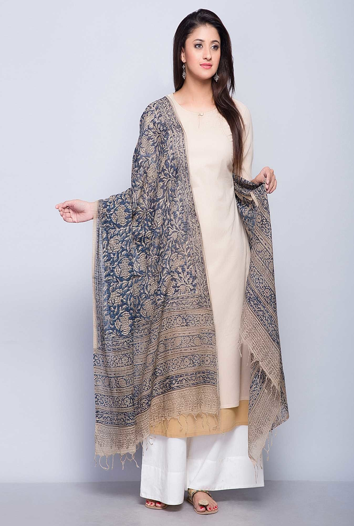 Fabindia Blue Cotton Printed Kalamkari Phool Dupatta