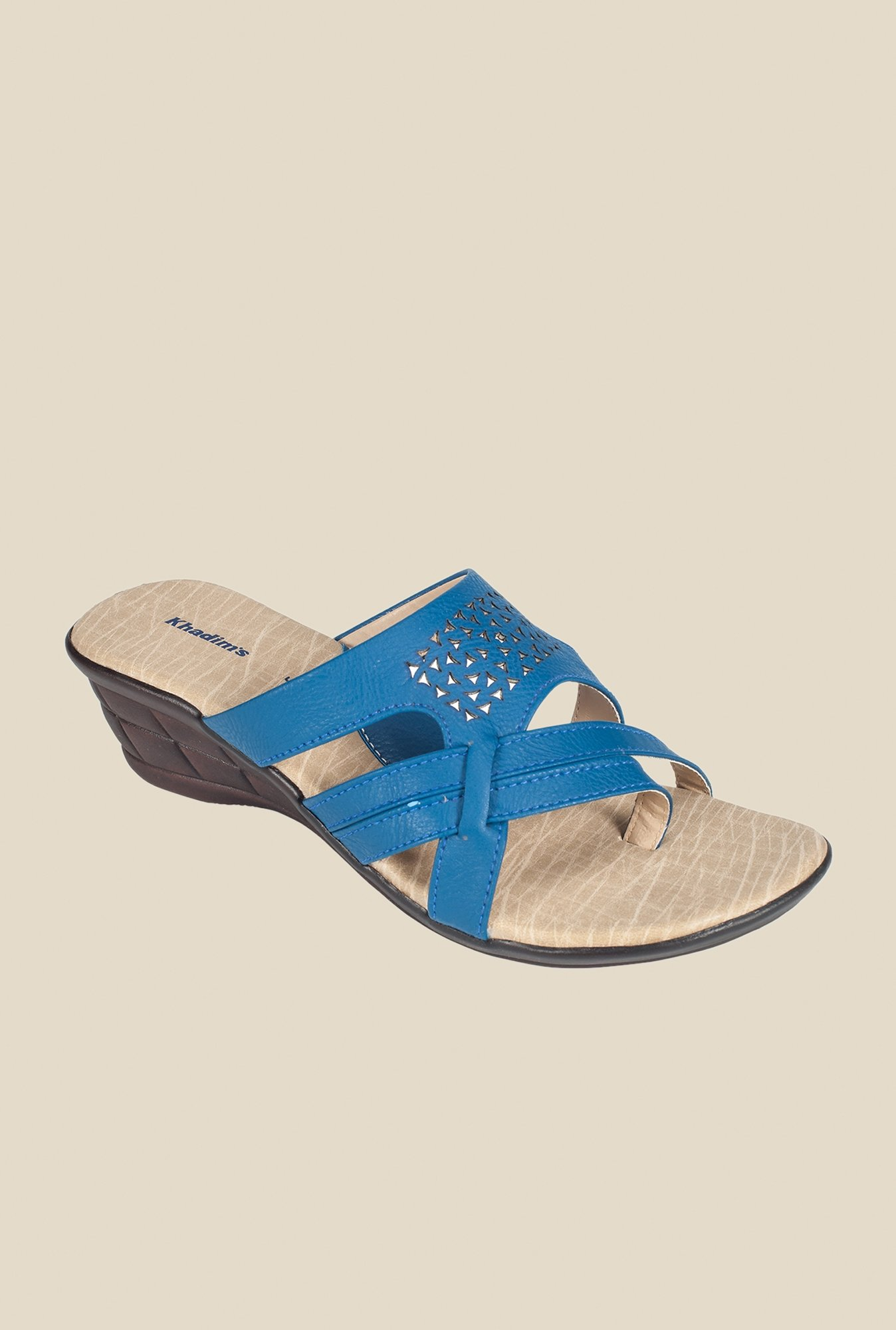 Khadim's Blue Wedge Heeled Sandals