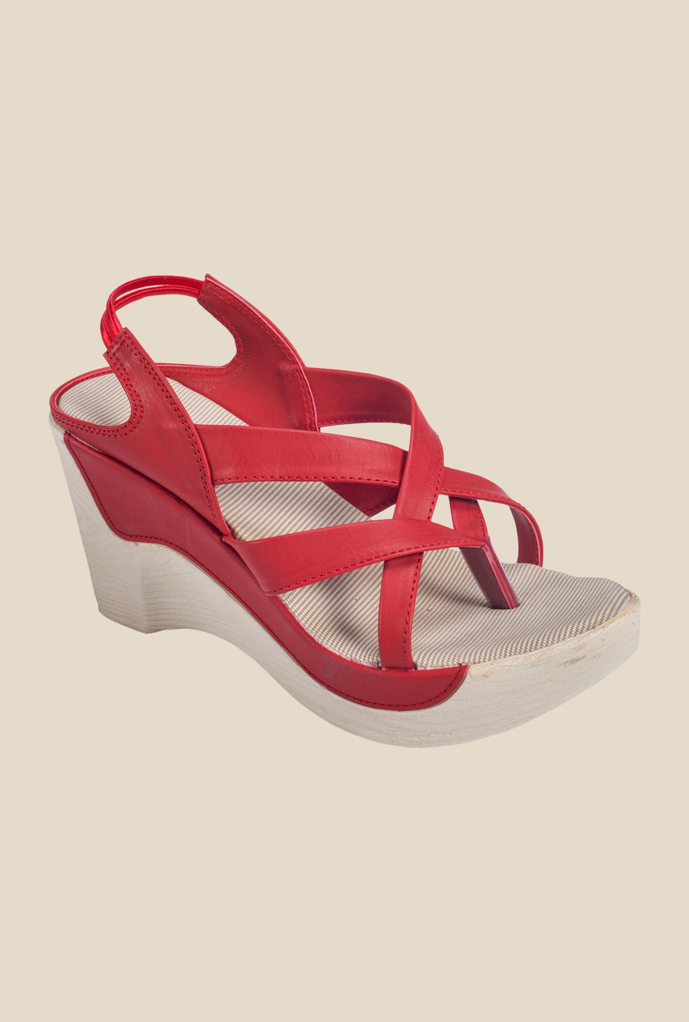 Khadim's Red Sling Back Wedges