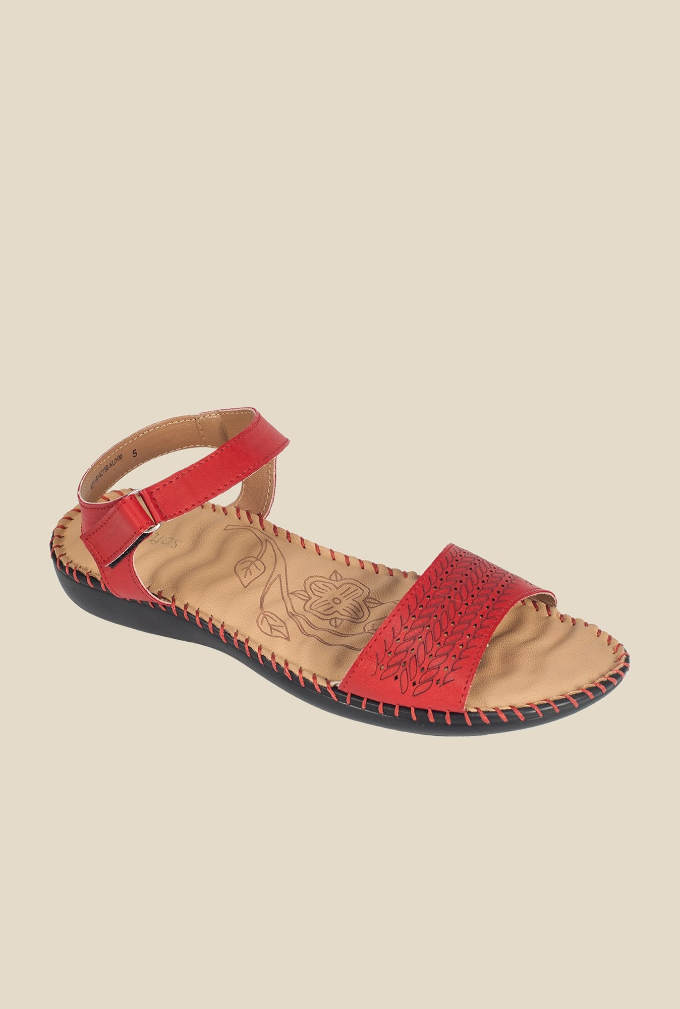 Khadim's Red Ankle Strap Sandals