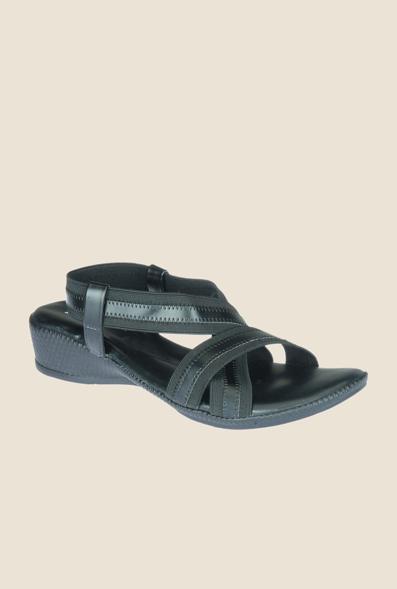 Khadim's Black Sling Back Wedges