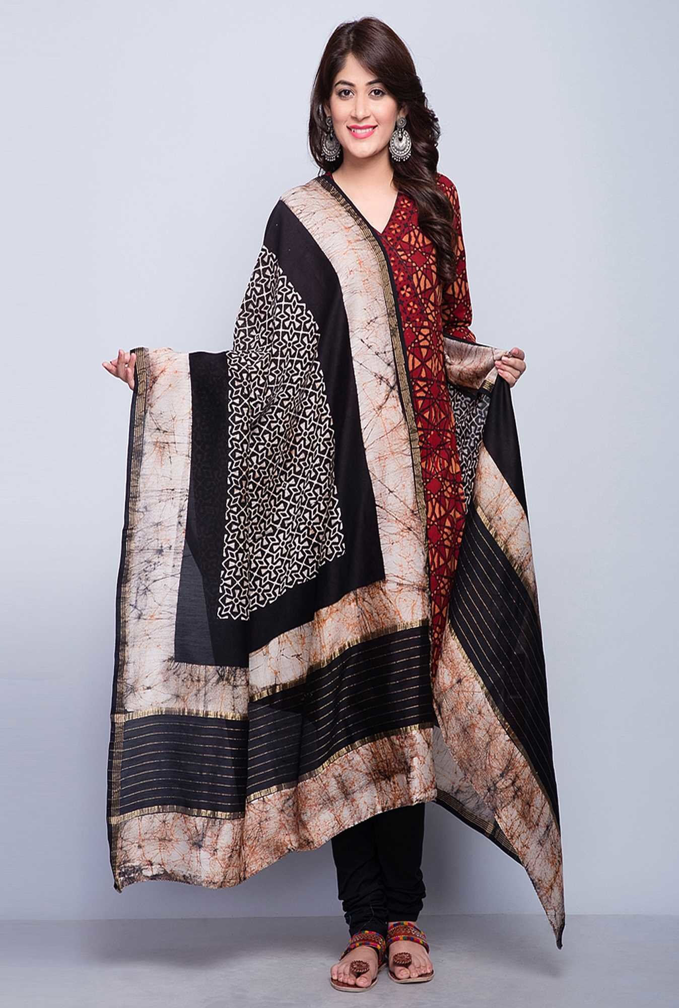 8fc0d14876f3a Buy Fab India Black Chanderi Printed Batik Challa Dupatta Online at ...