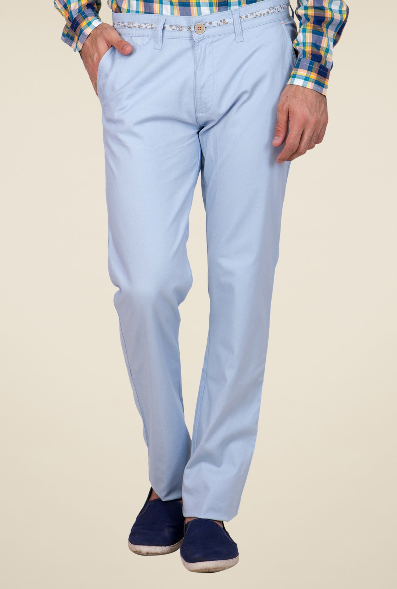 United Colors of Benetton Sky Blue Solid Chinos