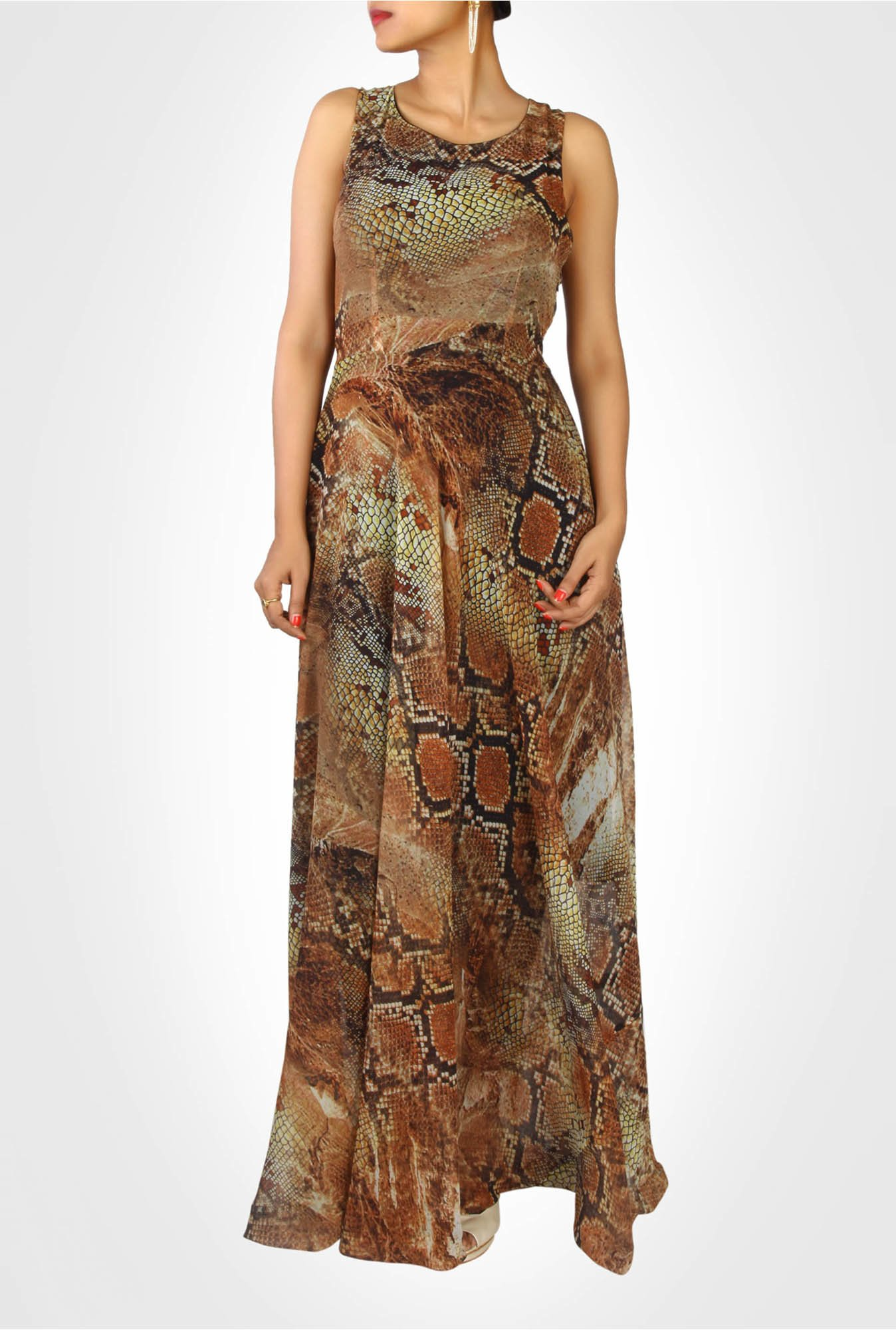 Nikita Mhaisalkar Designer Brown Printed Dress by Kimaya