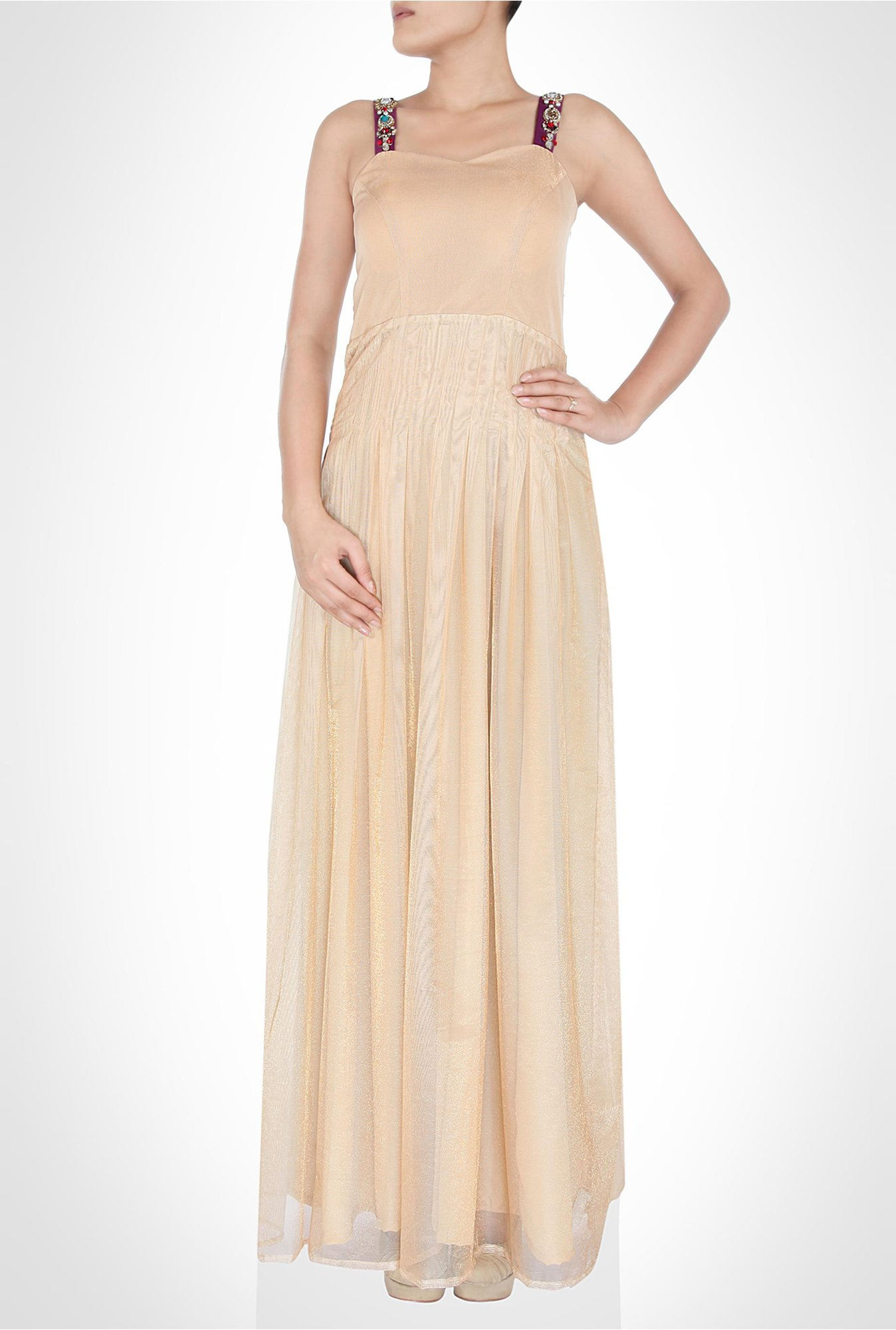 Masumi Mewawalla Designer Wear Beige Maxi Dress by Kimaya