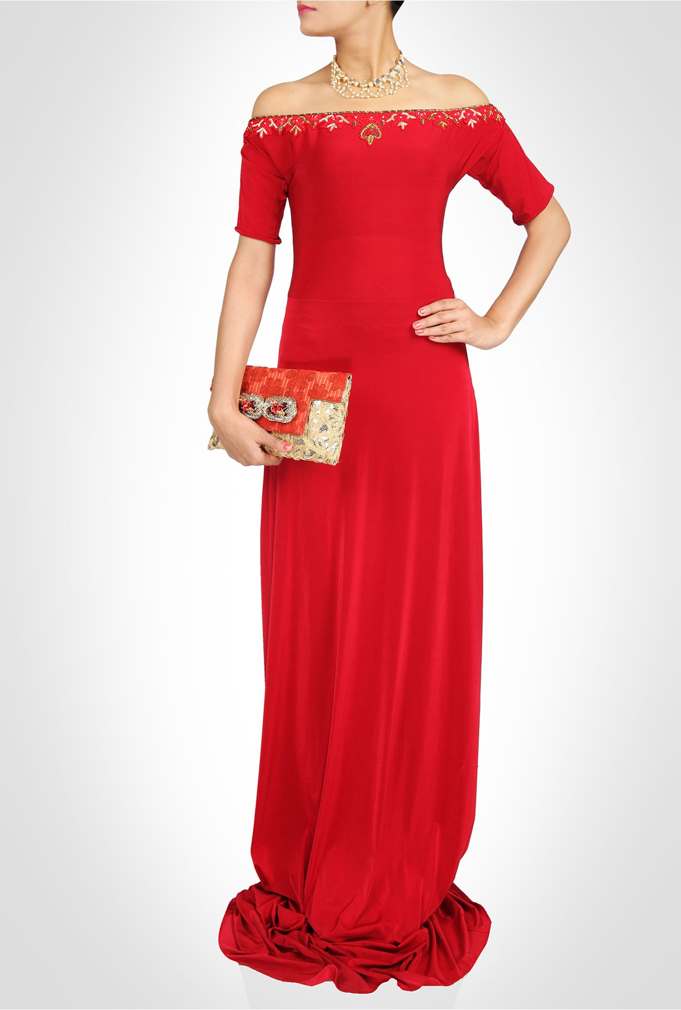 Saumya Gupta Designer Wear Red Off Shoulder Gown by Kimaya