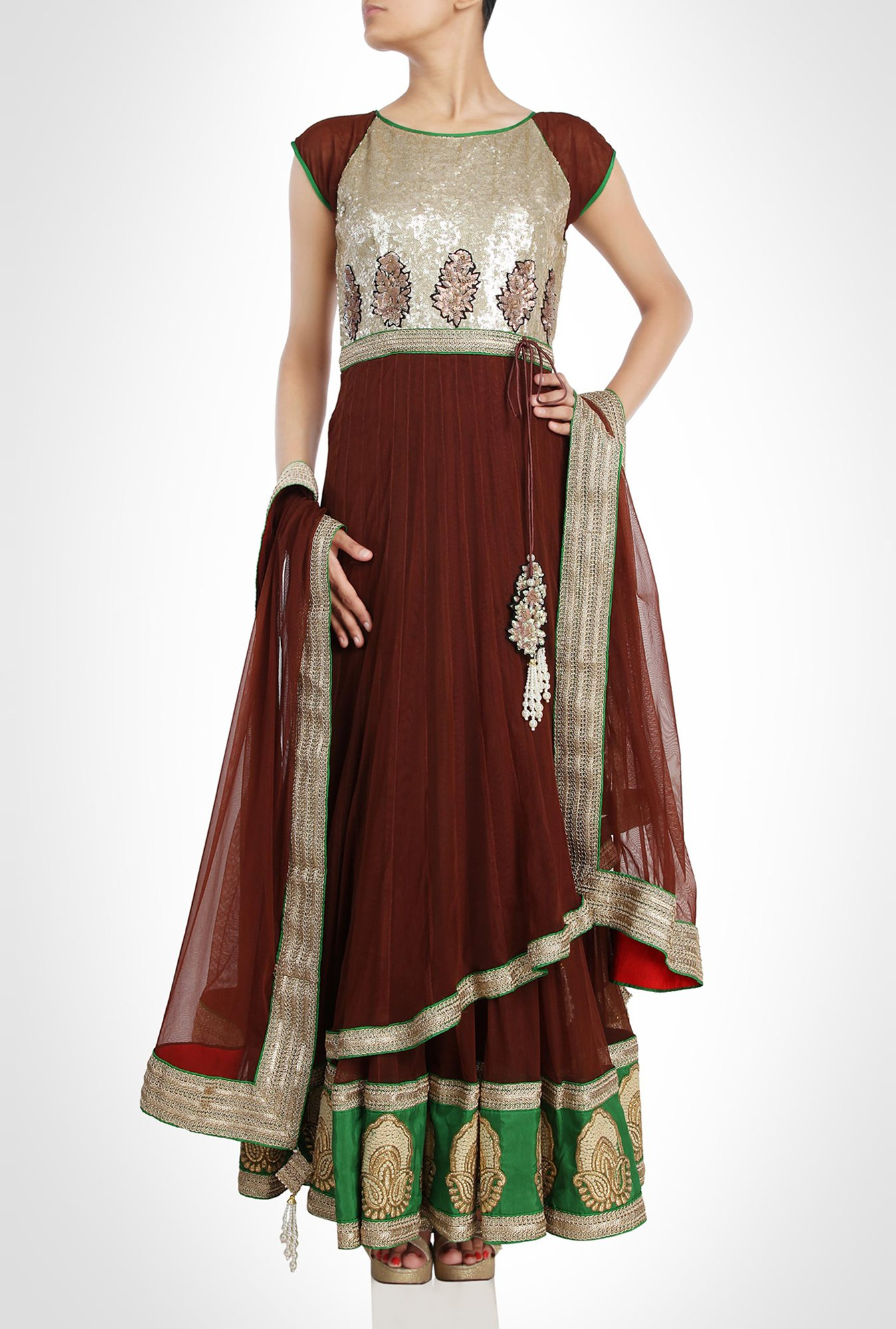 Kiran & Shruti Aksh Designer Wear Brown Suit Set by Kimaya