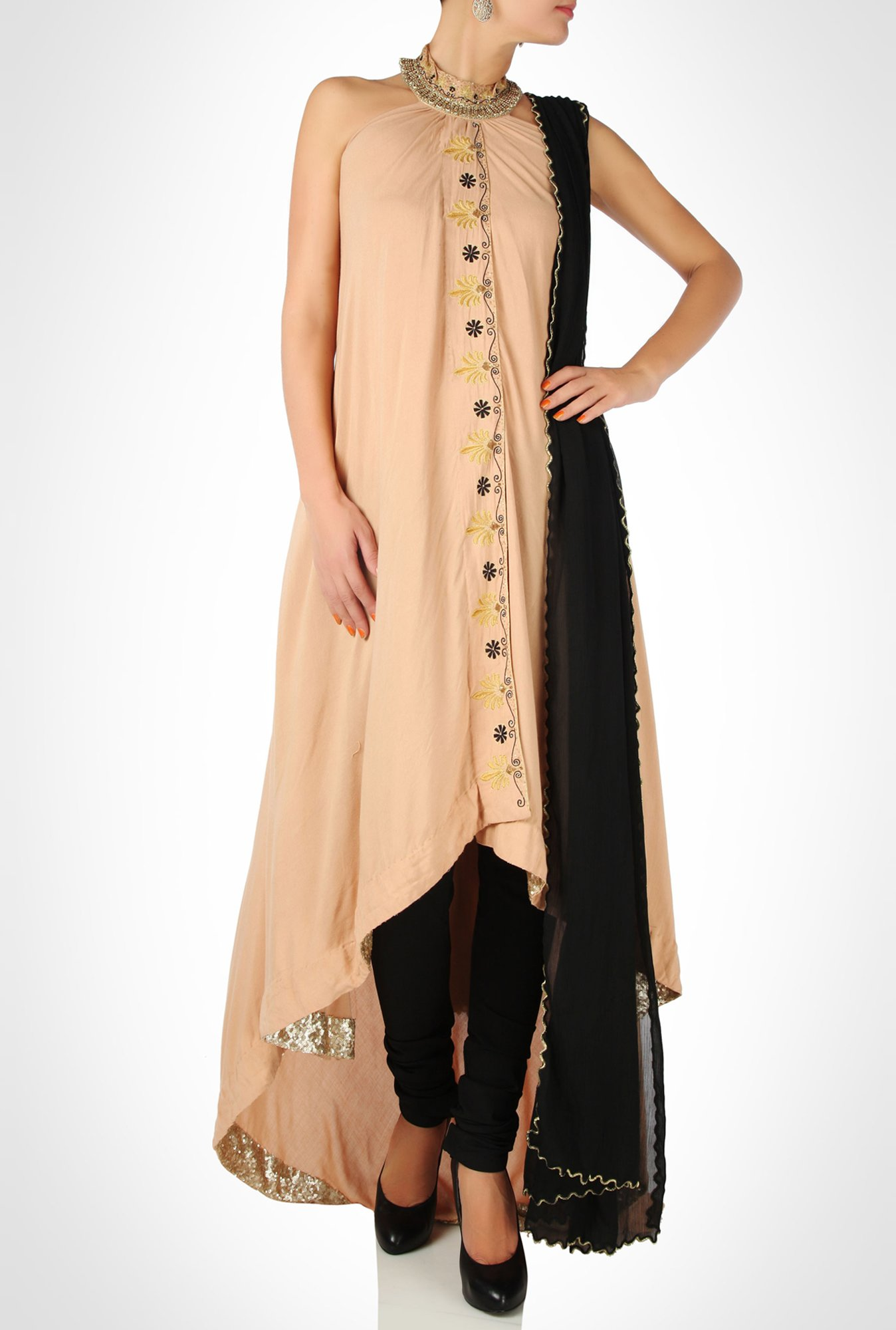 Anunakki Designer Wear Beige Suit Set by Kimaya