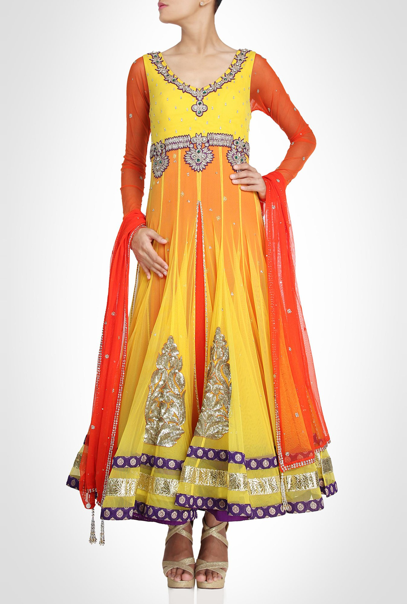 Arpan Vohra Designer Wear Vibrant Yellow Suit Set by Kimaya