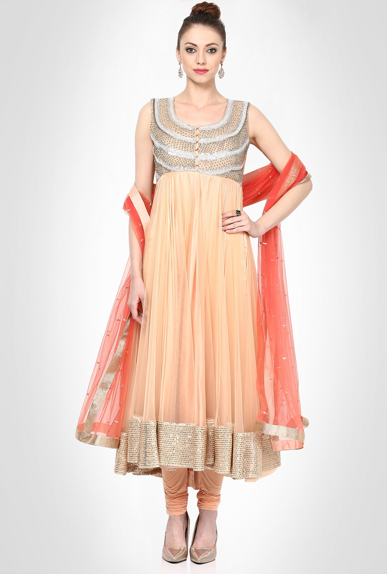 Himani Shah Designer Wear Peach Suit Set by Kimaya