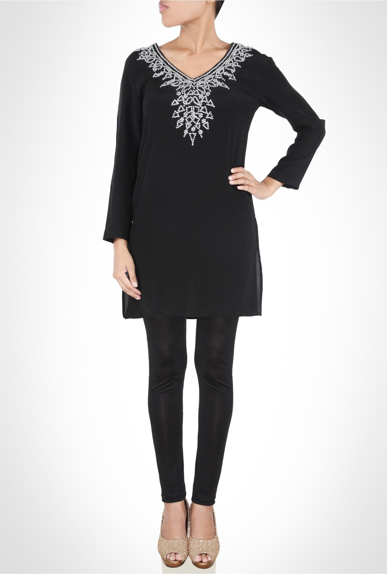 Rinku Dalmal Designer Wear Black Tunic by Kimaya