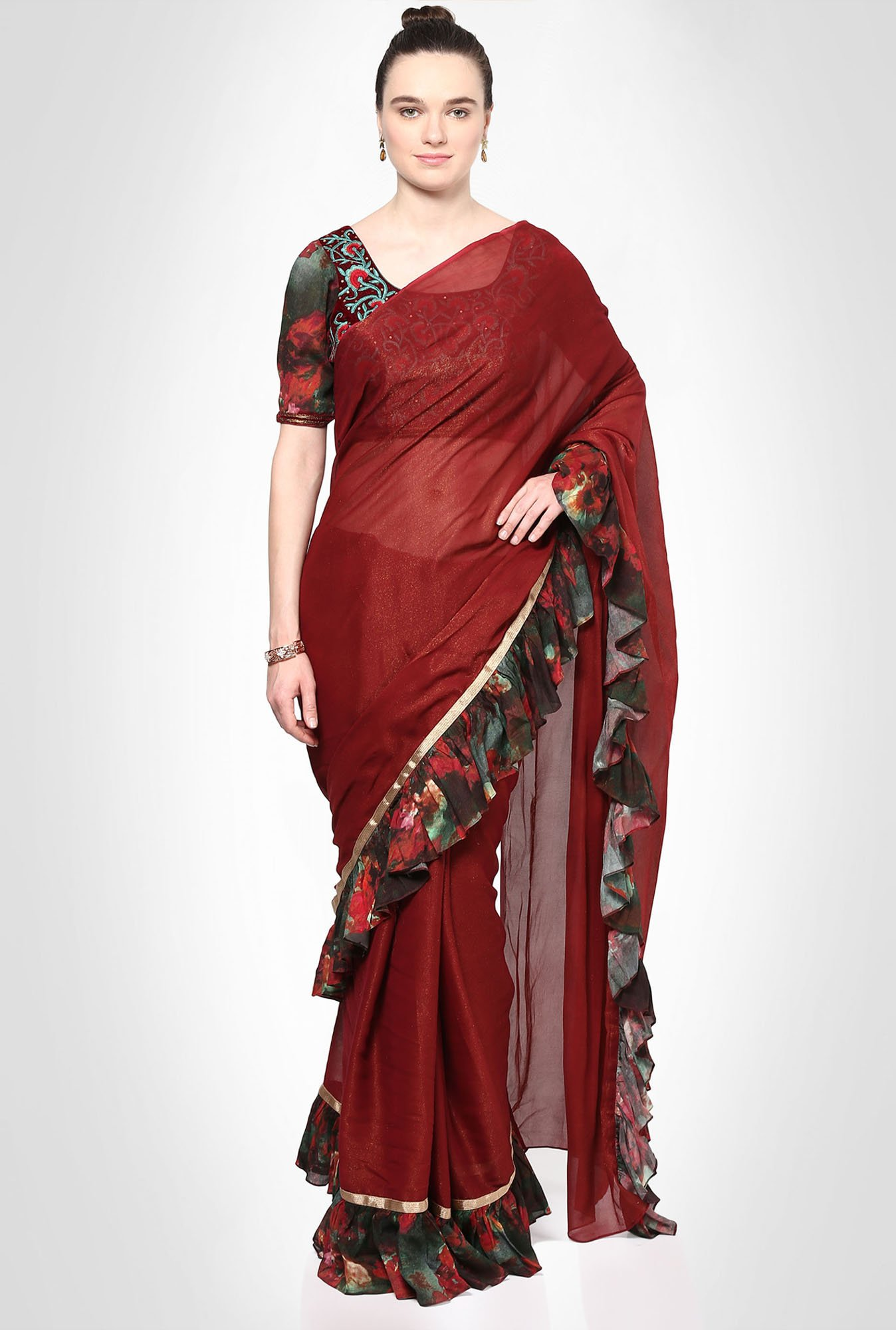 Kakondara Designer Maroon Saree With Frill Borders by Kimaya