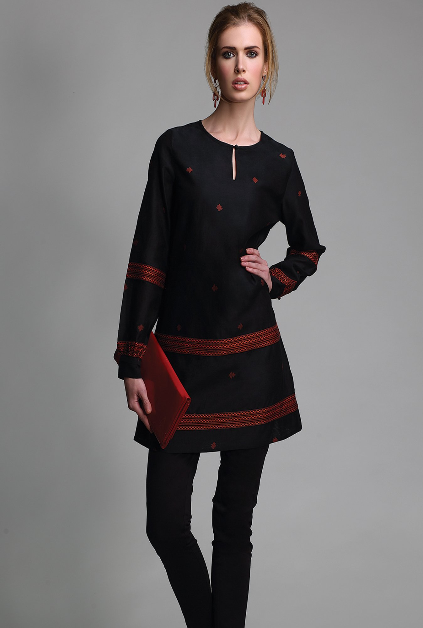 Fabindia Black Embroidered Kurti