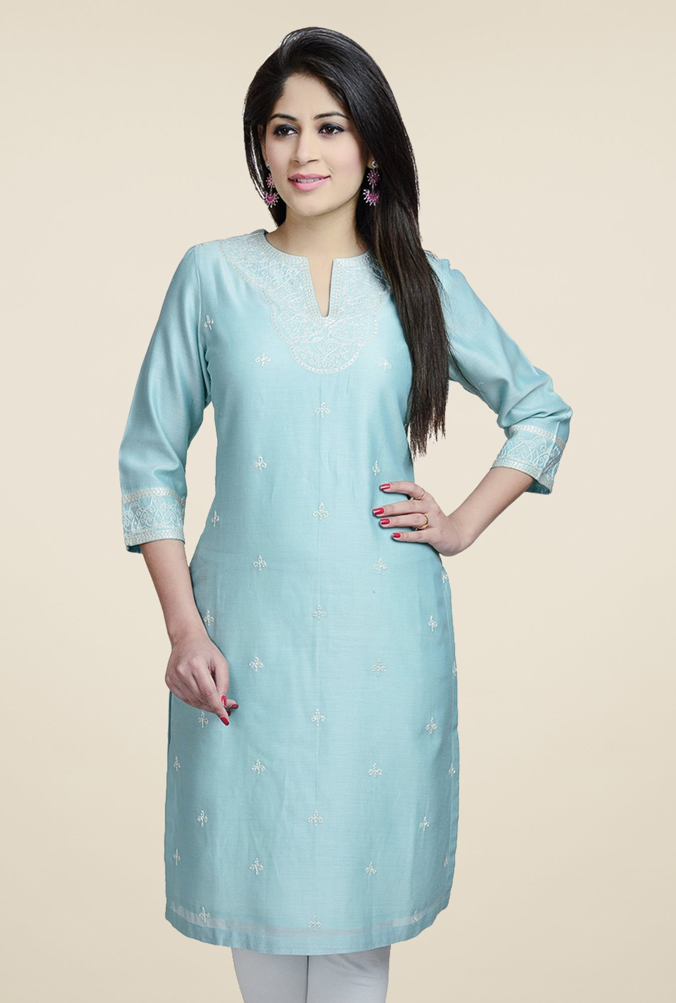 Fabindia Blue Embroidered Kurta
