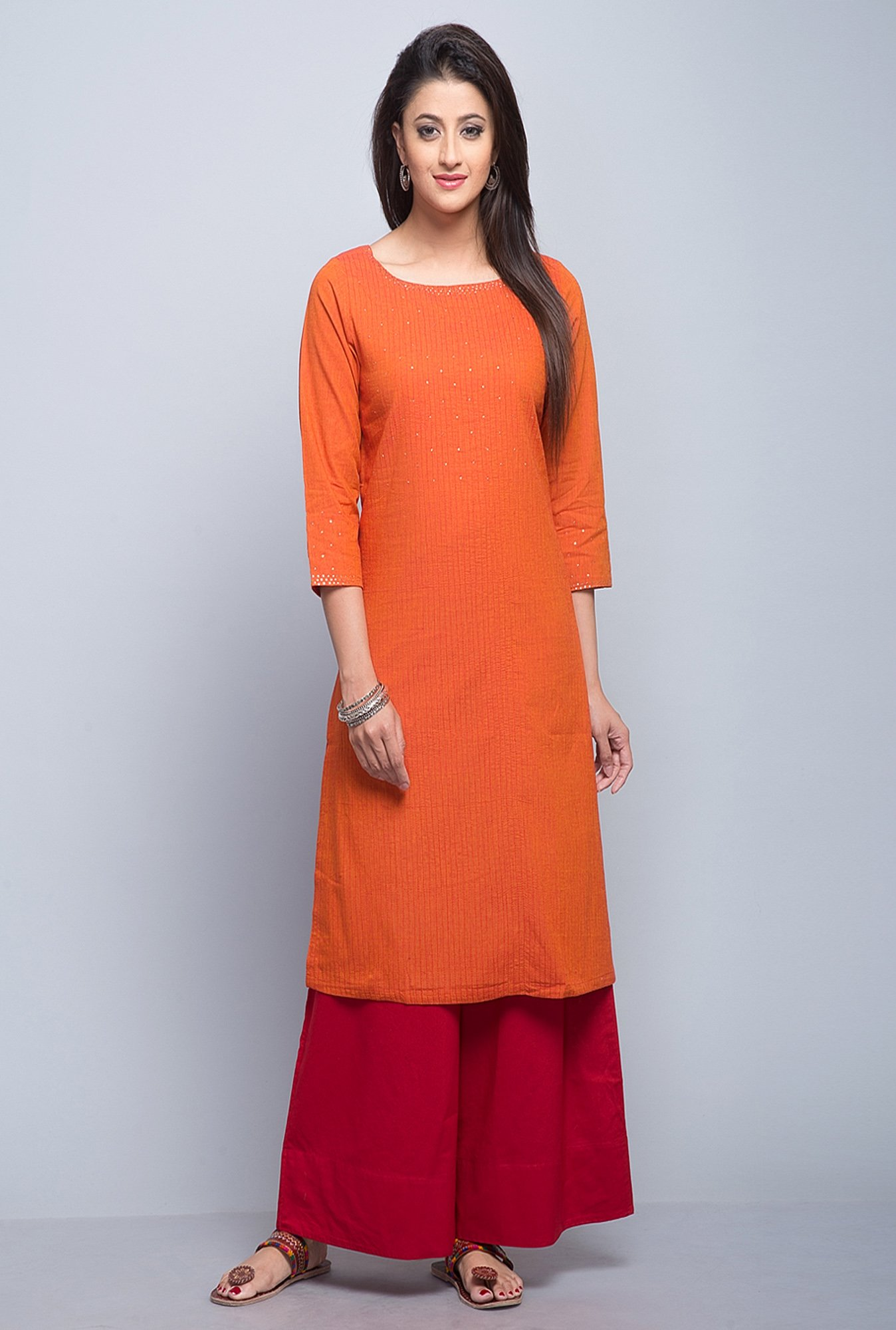 Fabindia Orange Embroidered Kurta