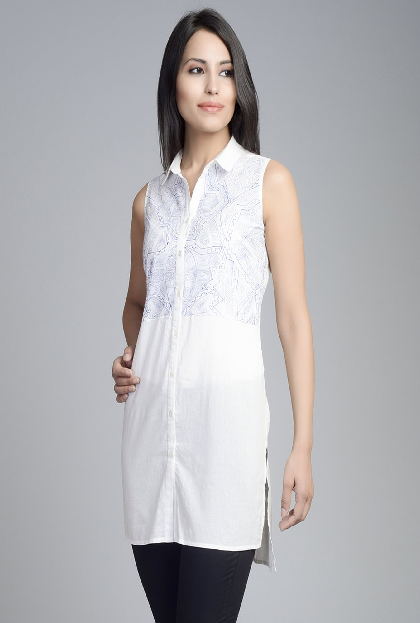 Fabindia White Embroidered Kurti