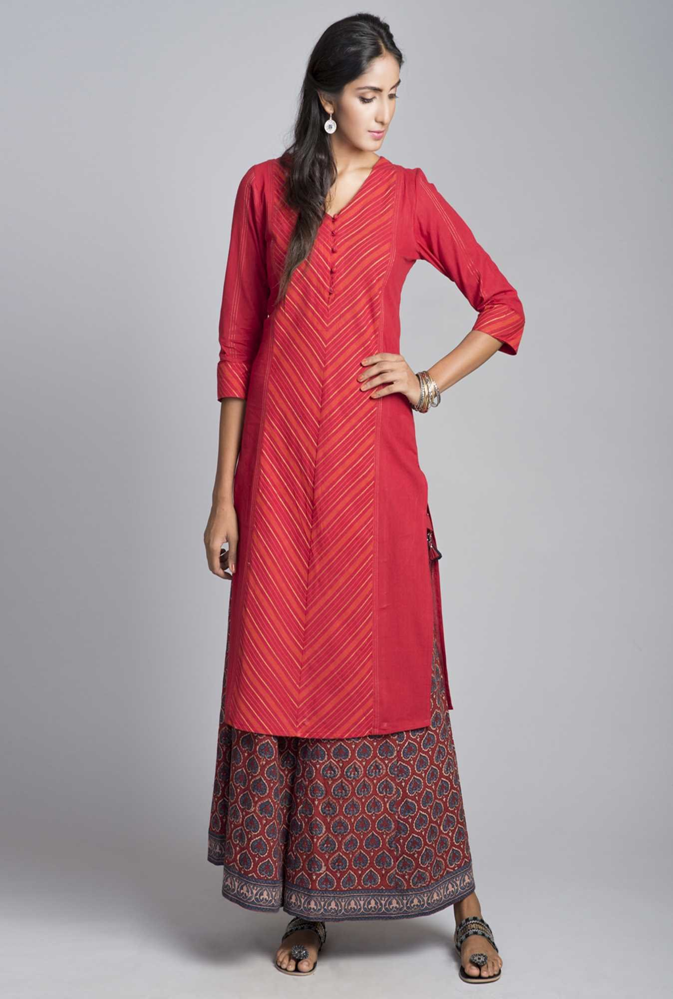 Fabindia Red Printed Kurta
