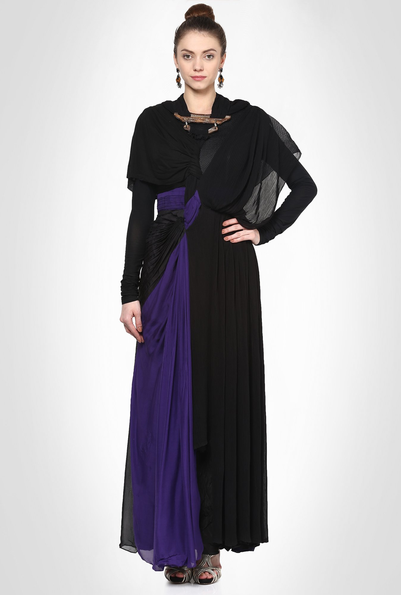 Alpana Neeraj Designer Wear Black Maxi Dress by Kimaya