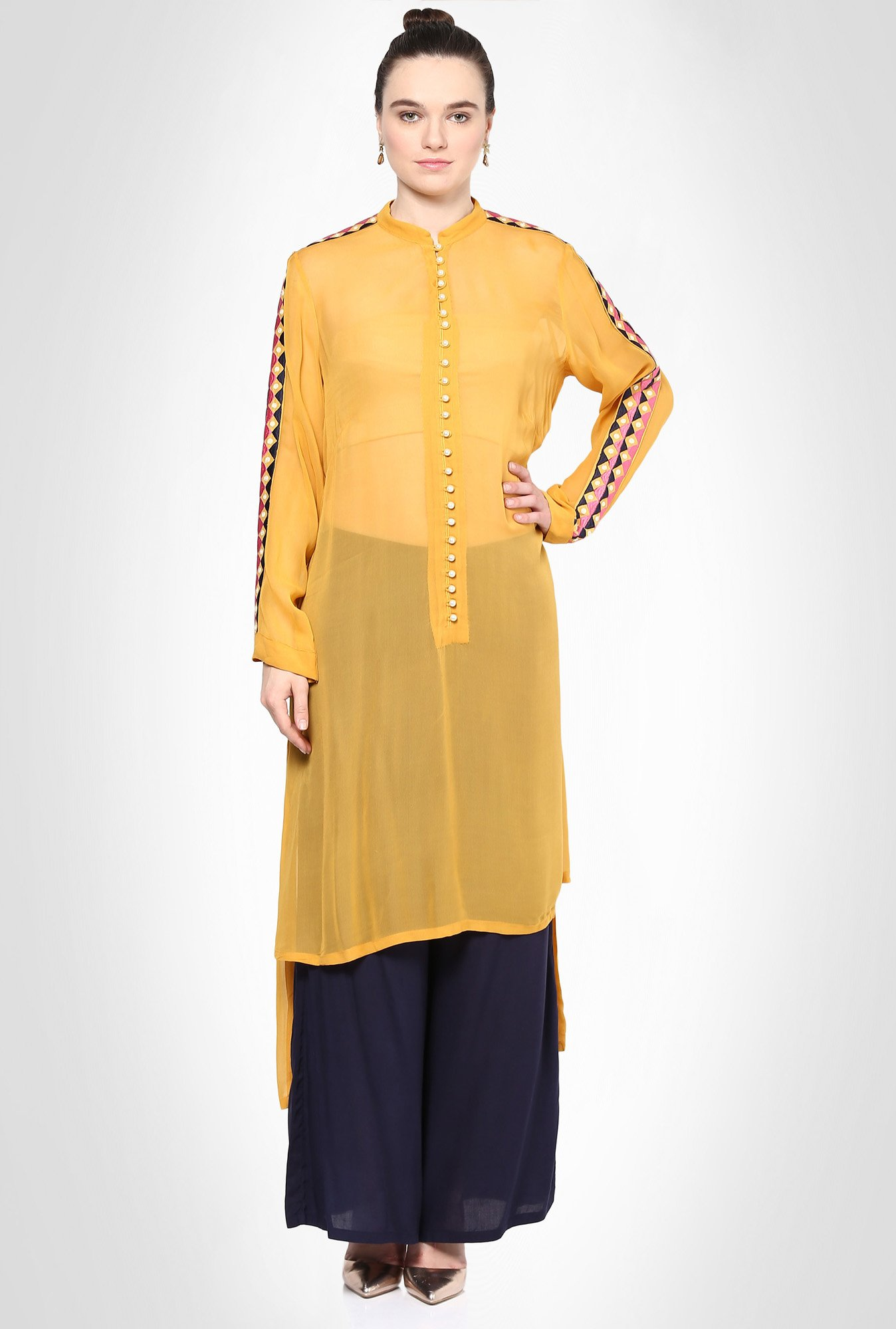 Saumya Pahwa Designer Wear Mustard Suit Set by Kimaya