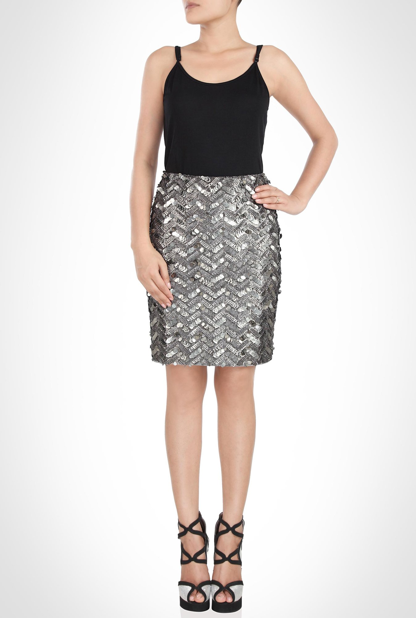 Soigne K Designer Silver Sequined Skirt by Kimaya