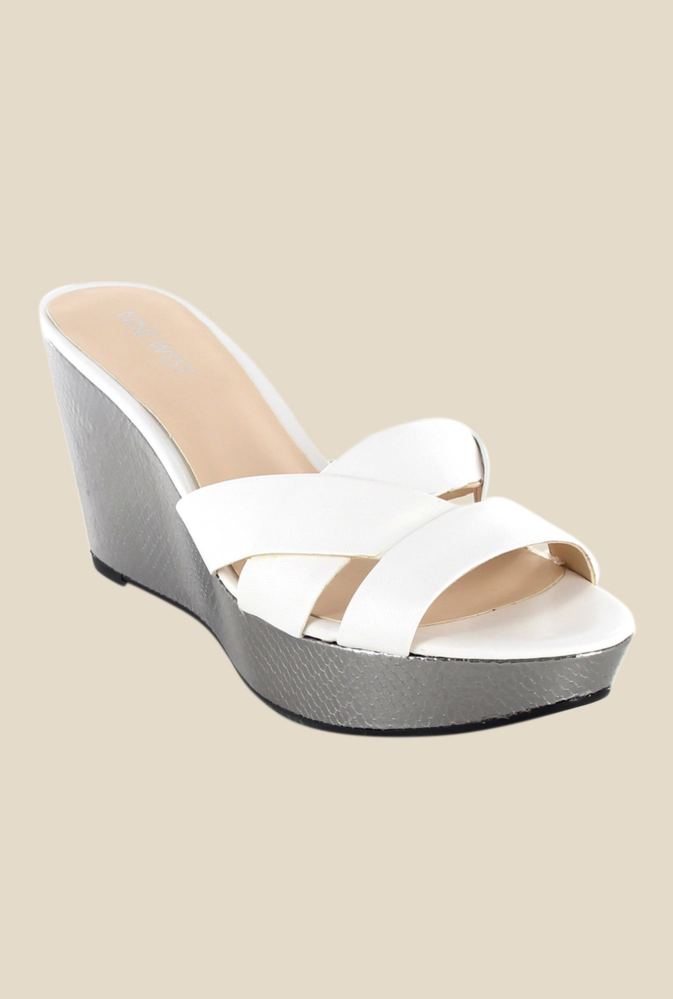 Nine West White Wedge Heeled Sandals