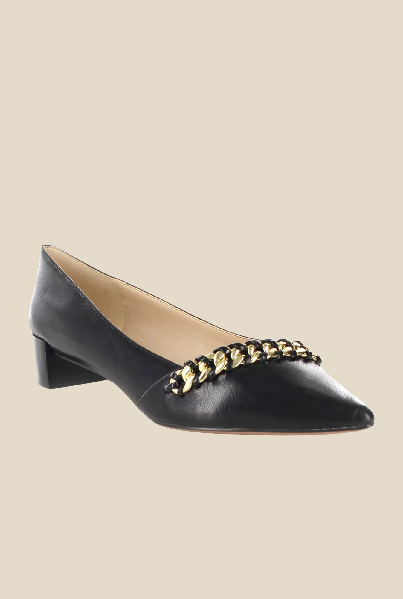 Nine West Black & Golden Block Heeled Pumps