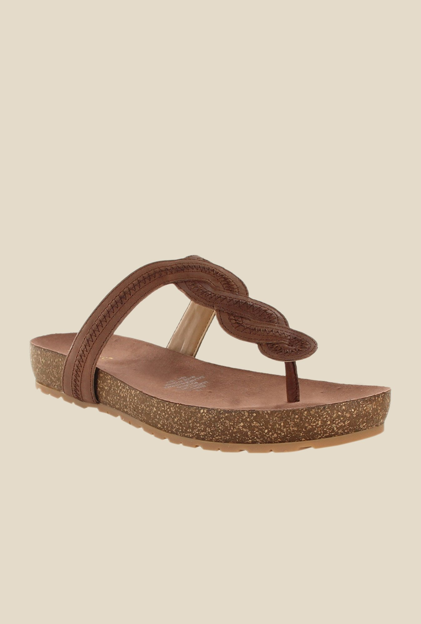 Nine West Brown T-Strap Sandals