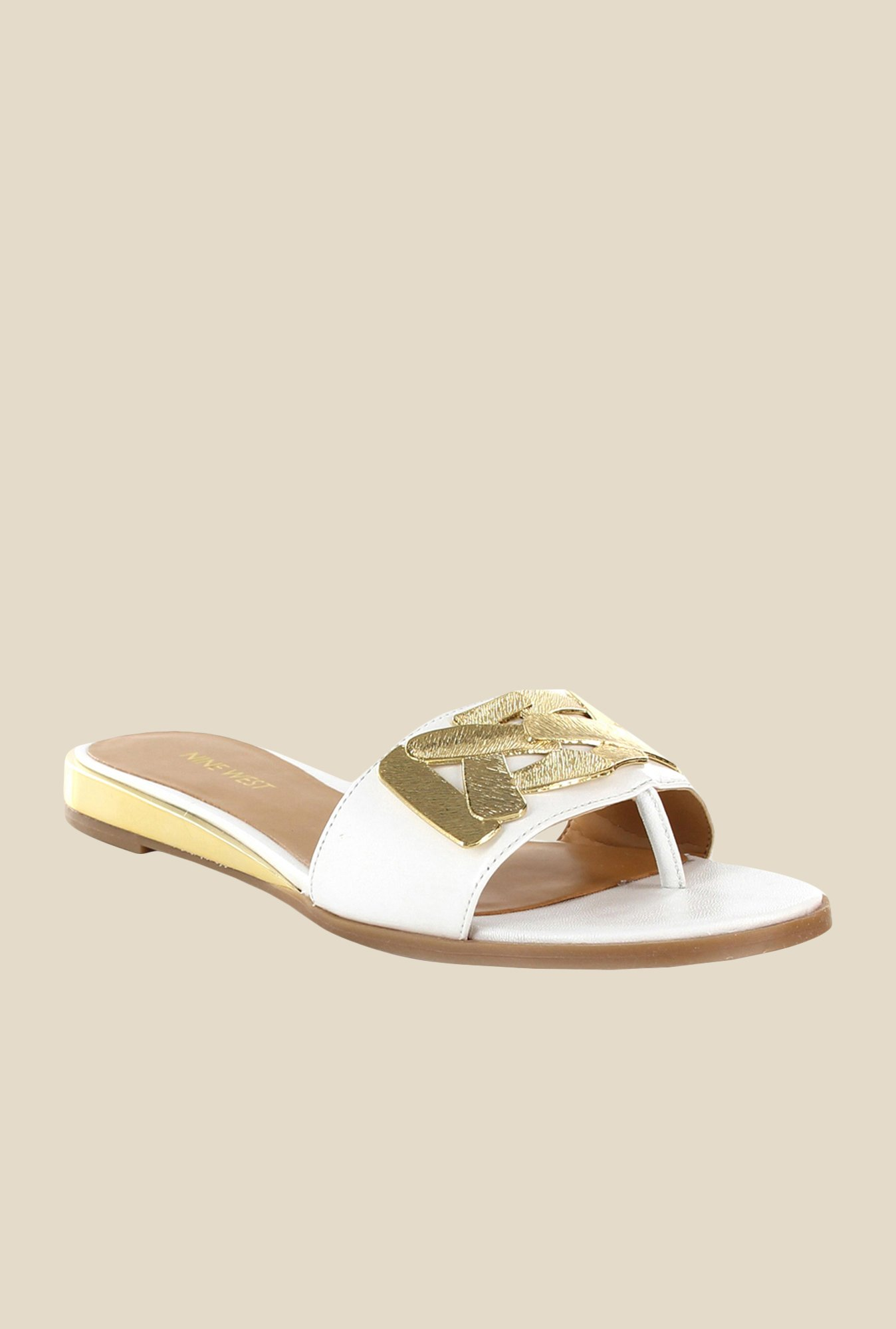 Nine West White Casual Sandals