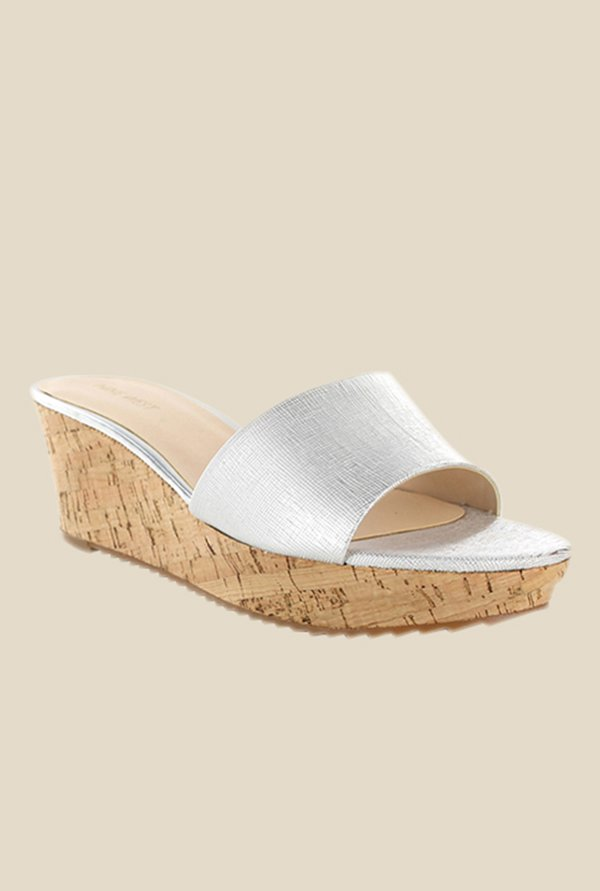 Nine West Silver Wedge Heeled Sandals