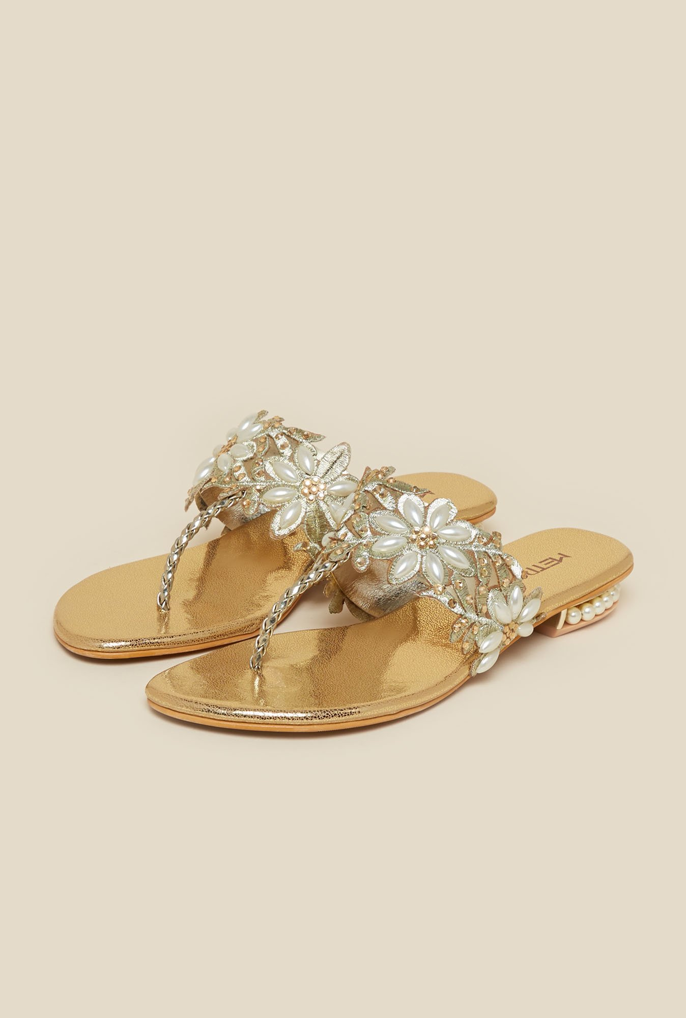 Metro Gold T-Strap Flat Sandals