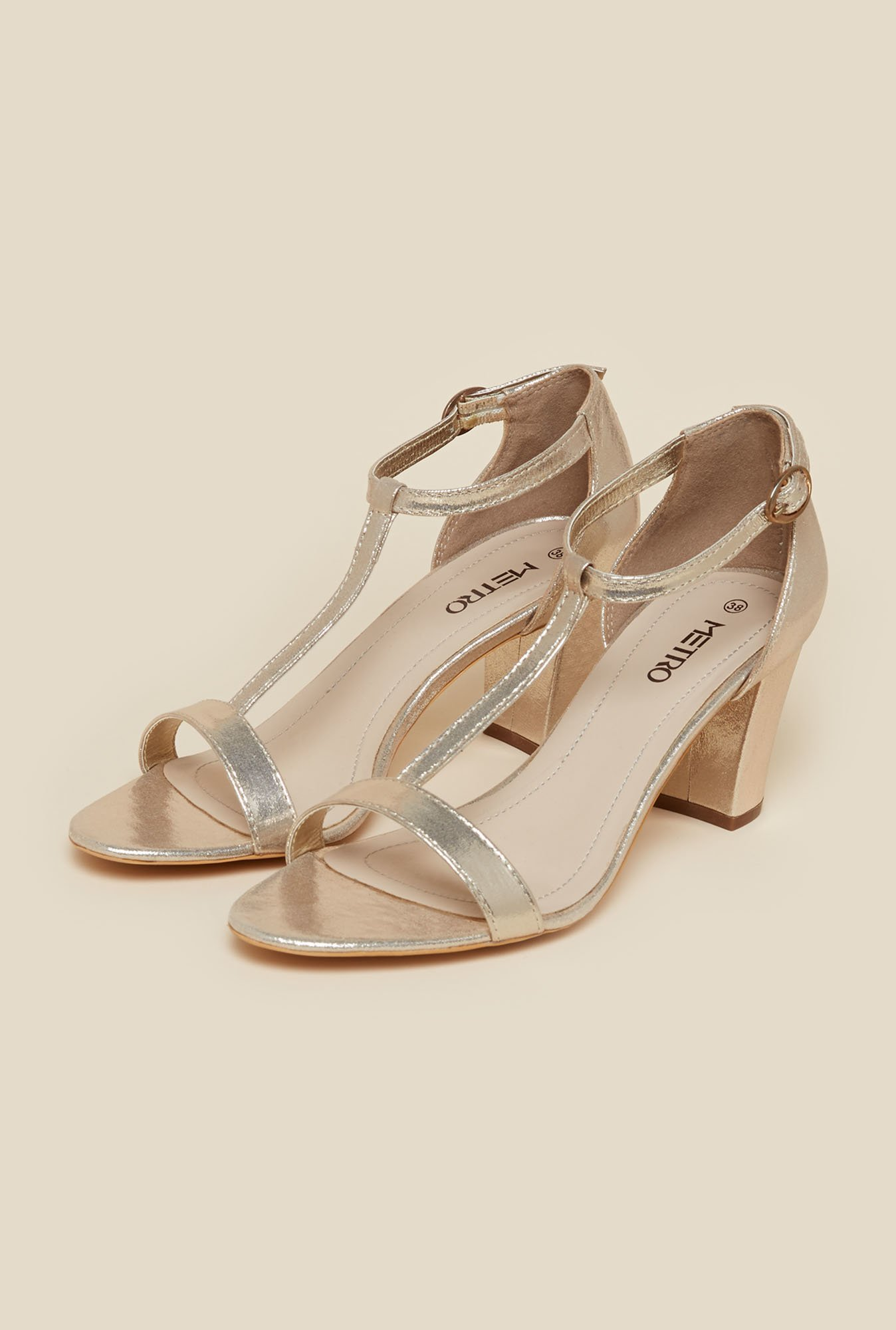 Metro Silver Ankle Strap Block Sandals