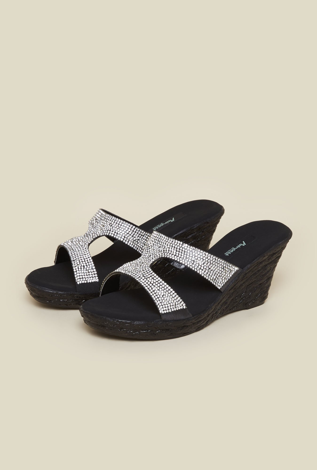 Princess by Metro Black Mule Wedge Beaded Sandal