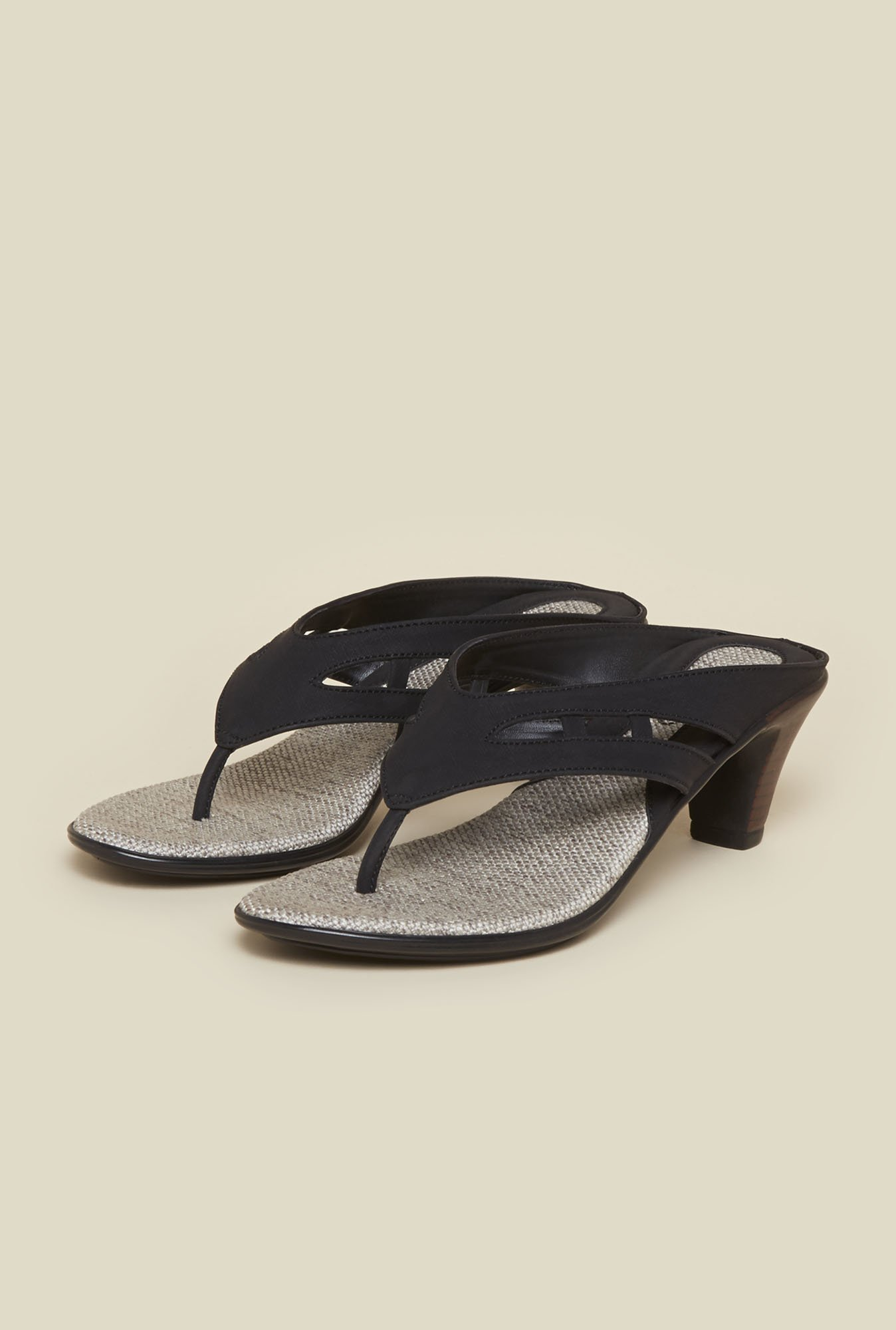 Metro Black Cut-out Block Sandals
