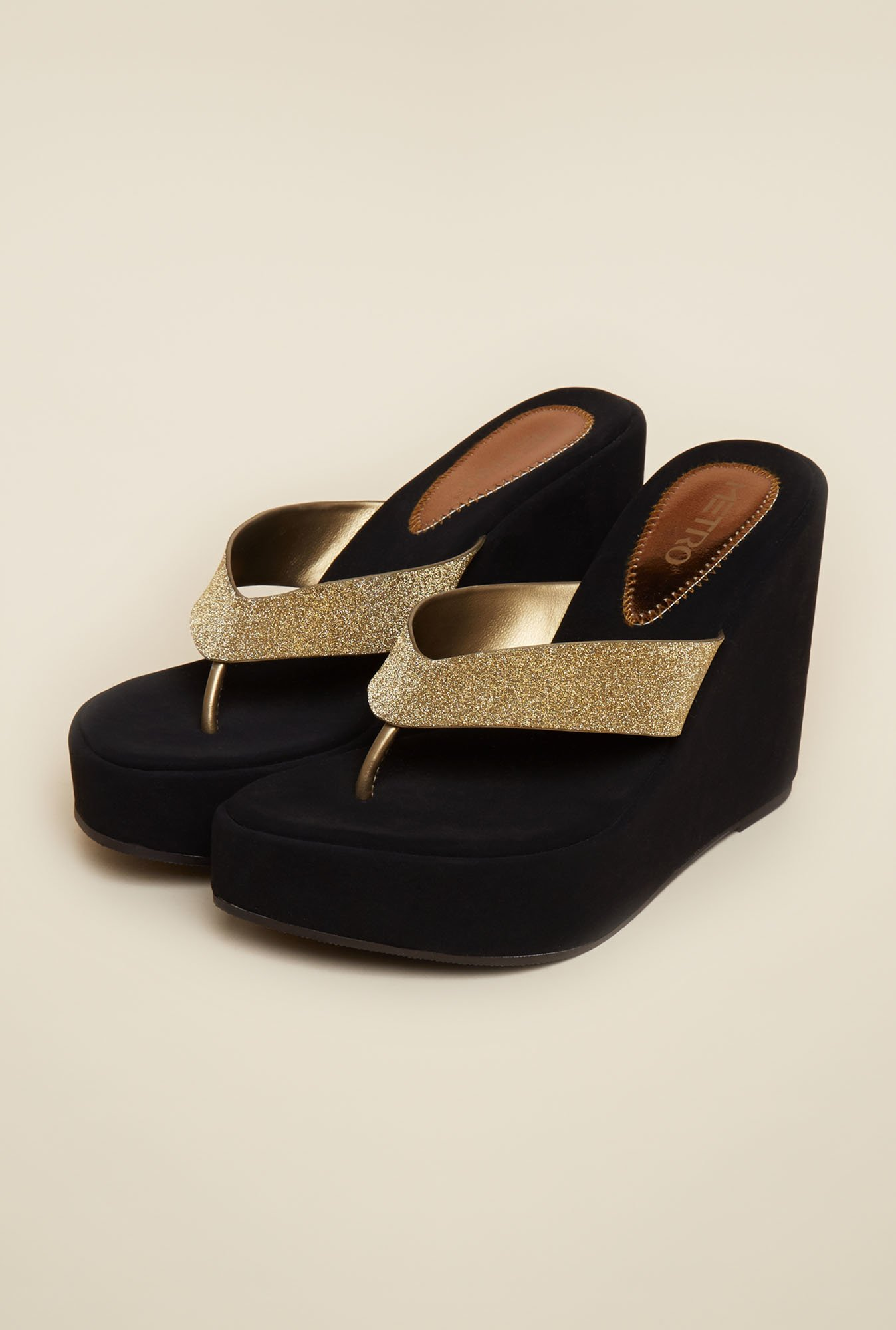 Metro Antique Gold Platform Thong Sandals