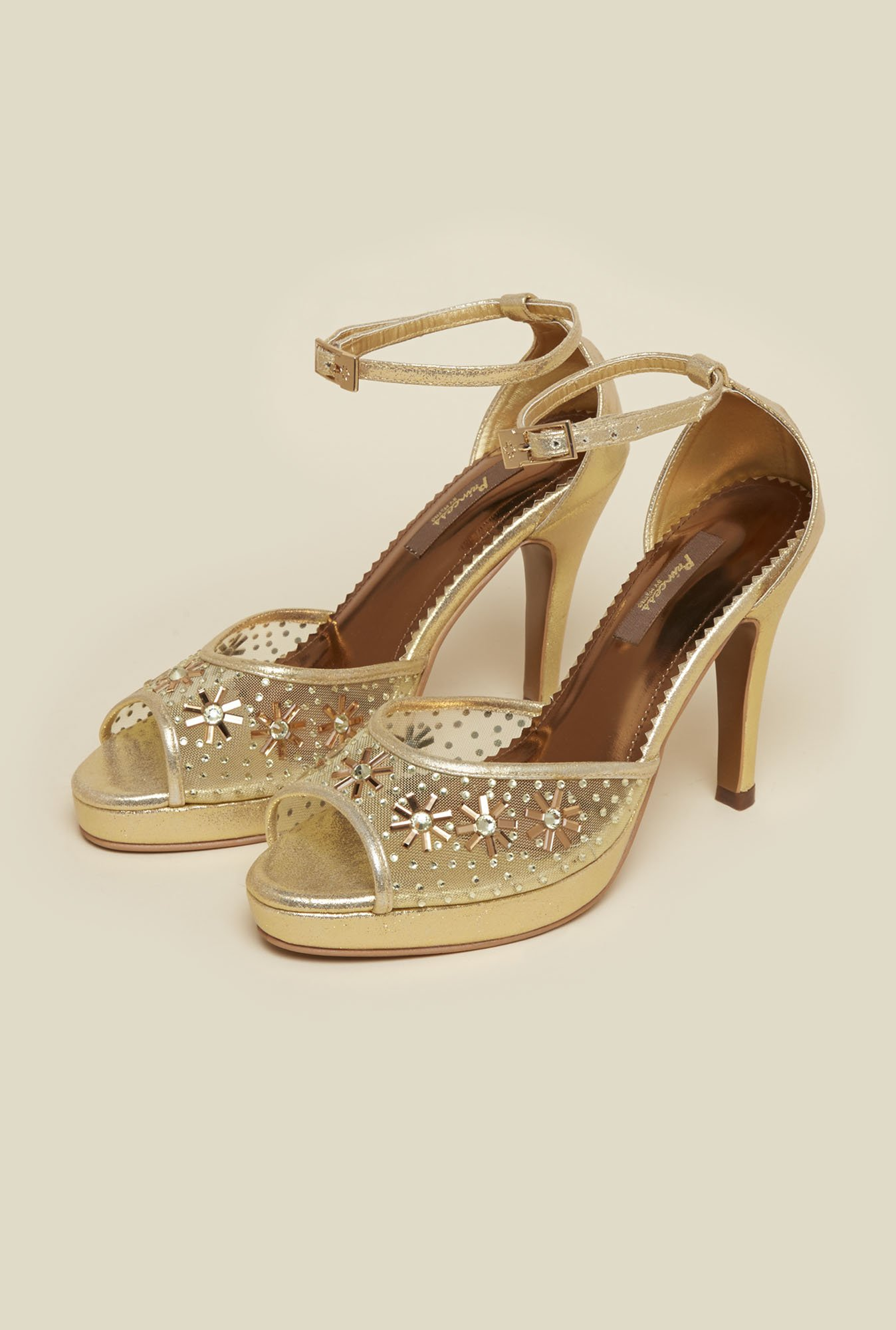 Princess by Metro Gold Stiletto Sandals