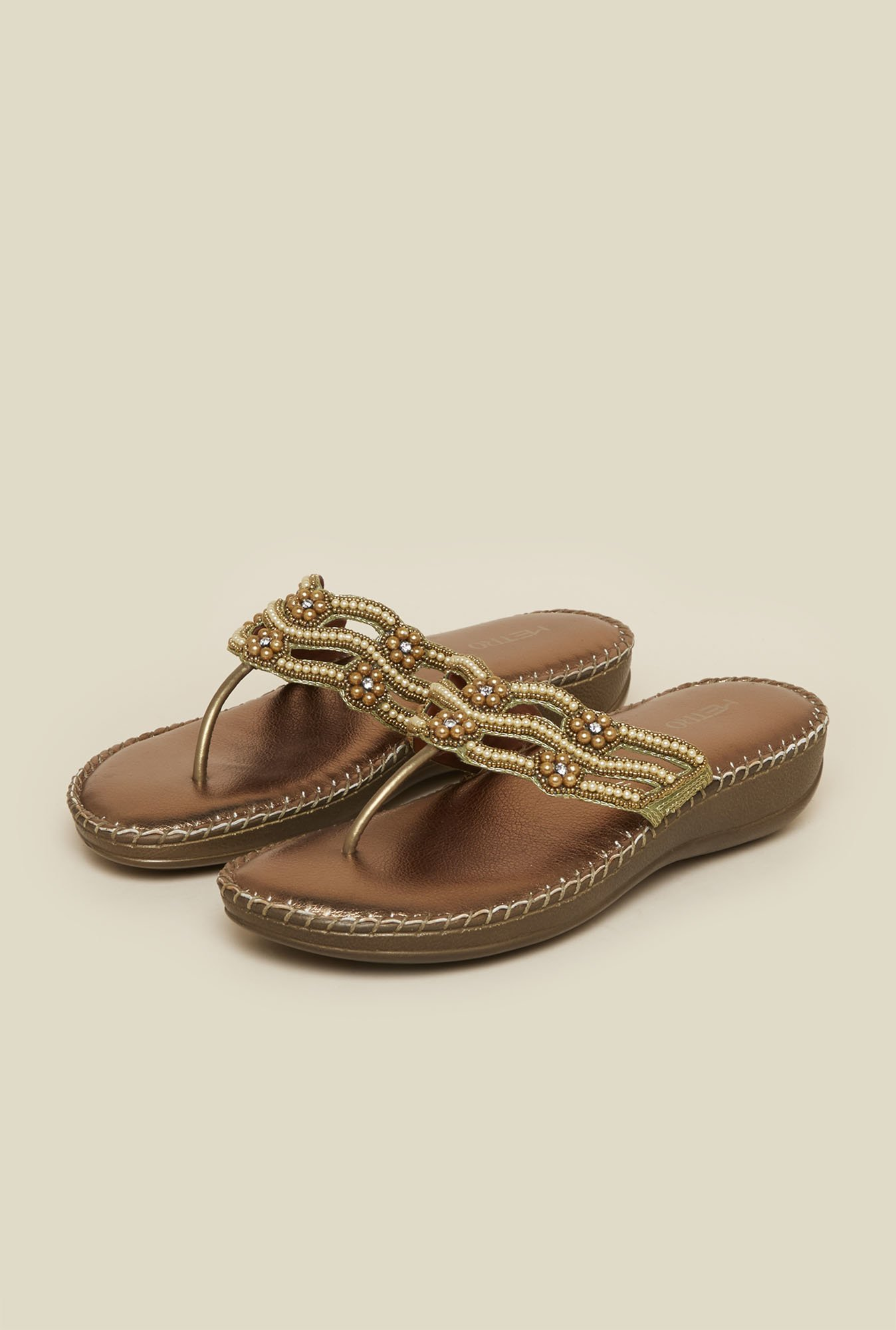 Metro Antique Gold T-Strap Flat Sandal