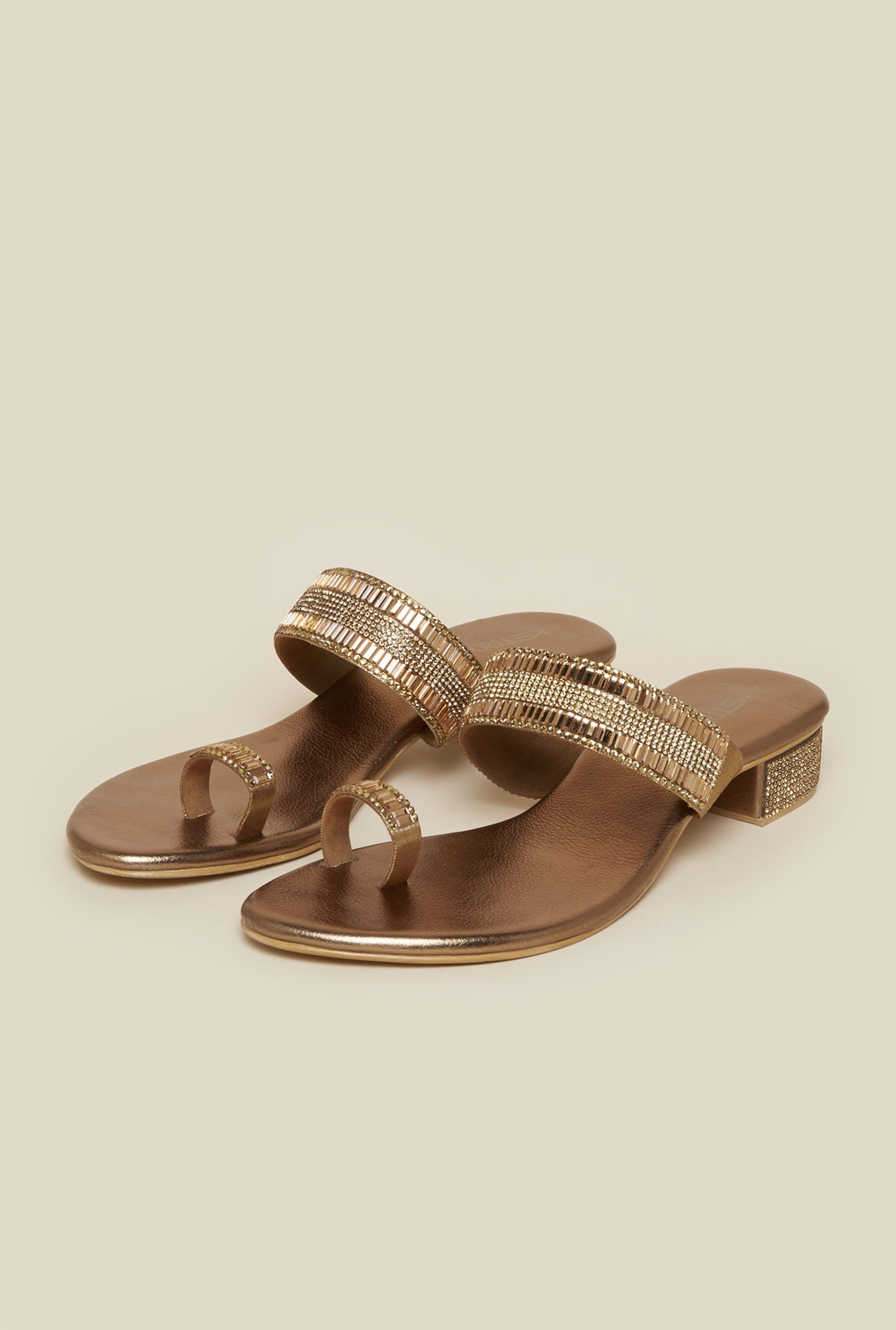 Metro Antique Gold Toe Ring Block Sandal