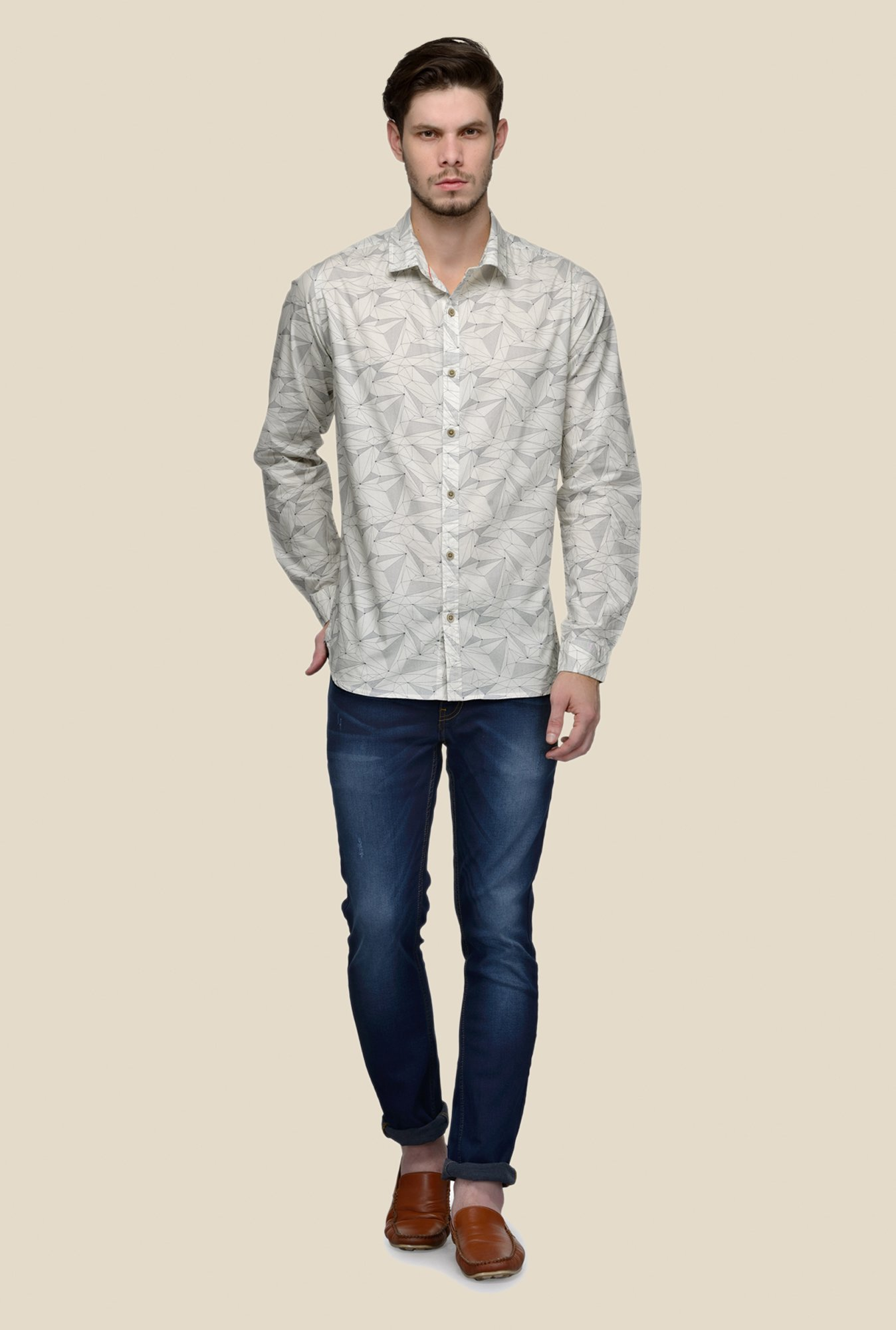 United Colors of Benetton Beige Geometric Print Shirt