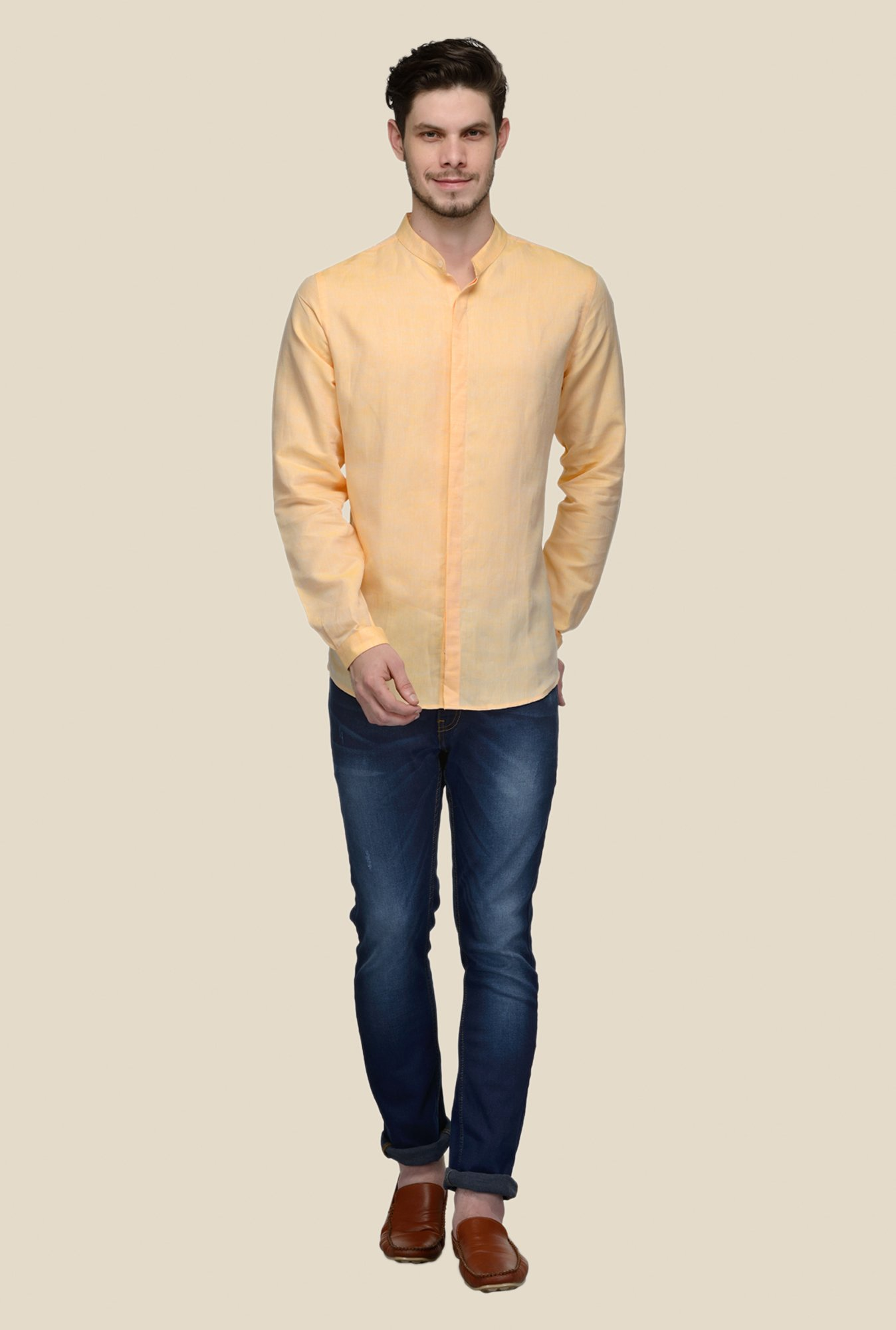 United Colors of Benetton Orange Linen Shirt