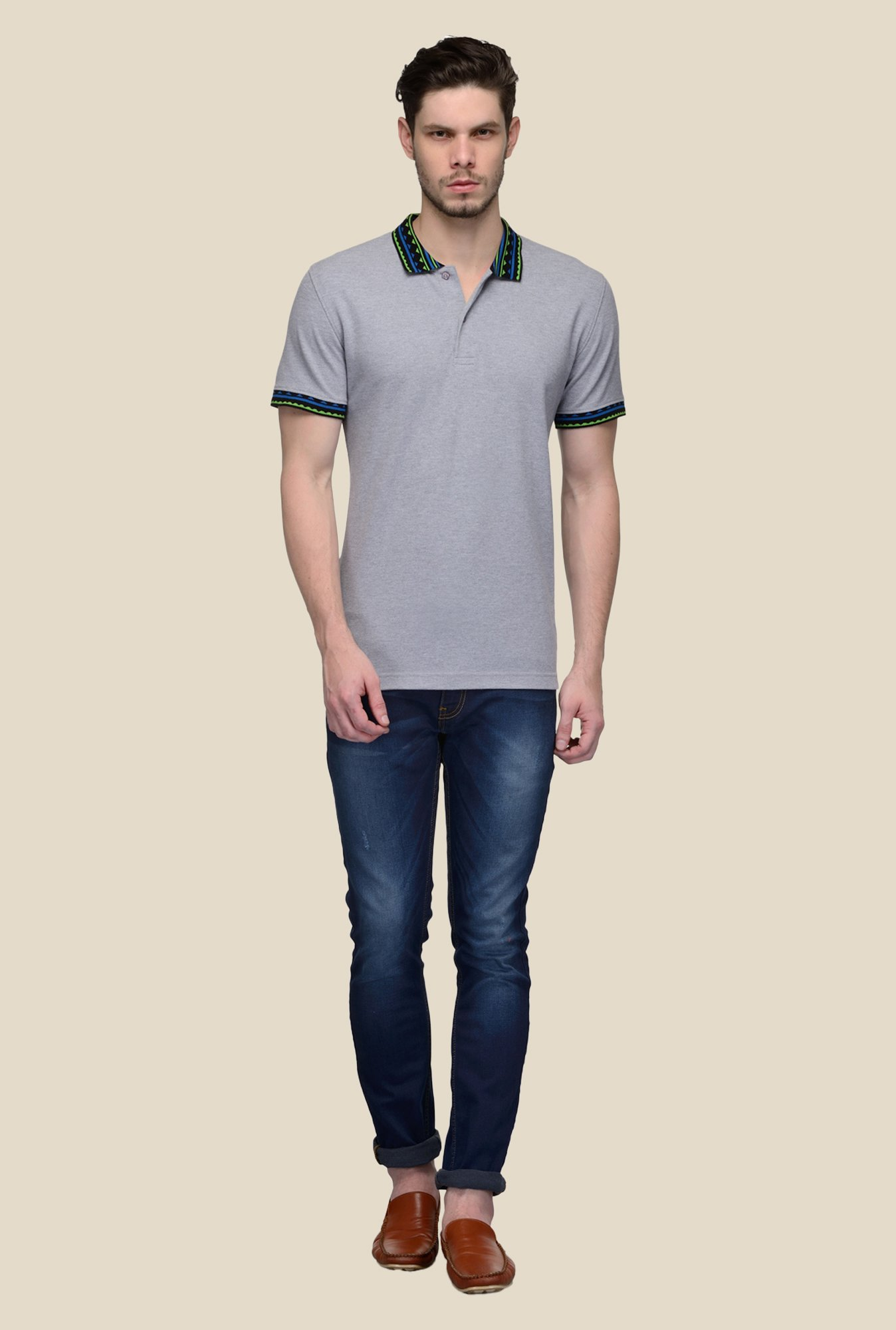 United Colors of Benetton Grey Polo T-shirt
