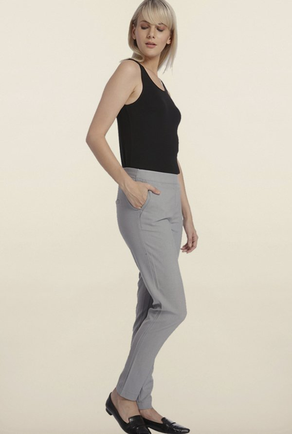 Vero Moda Light Grey Solid Pants